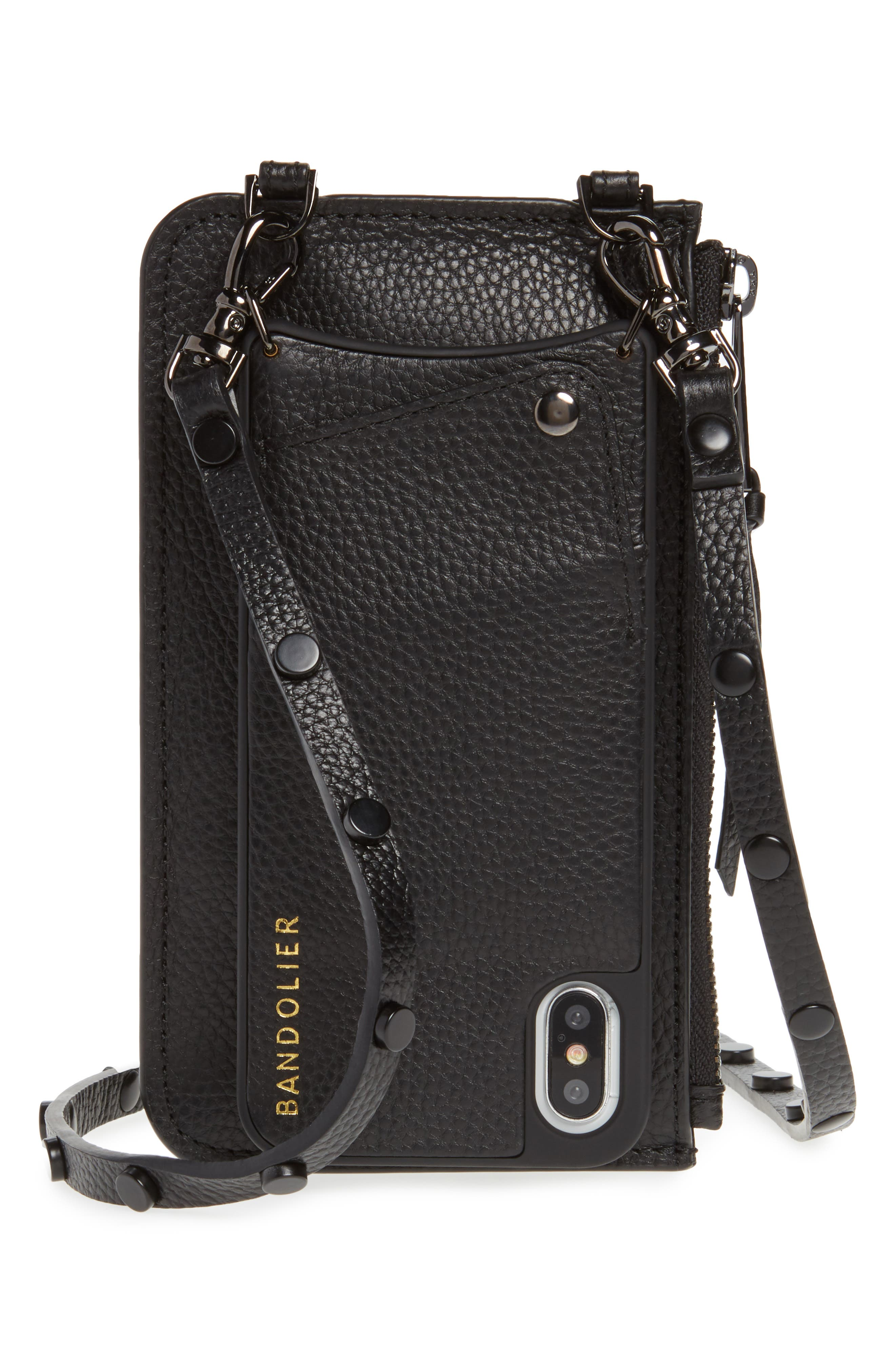 Jane Leather iPhone X & Xs Crossbody Case & Pouch Set,                             Main thumbnail 1, color,                             BLACK/ PEWTER