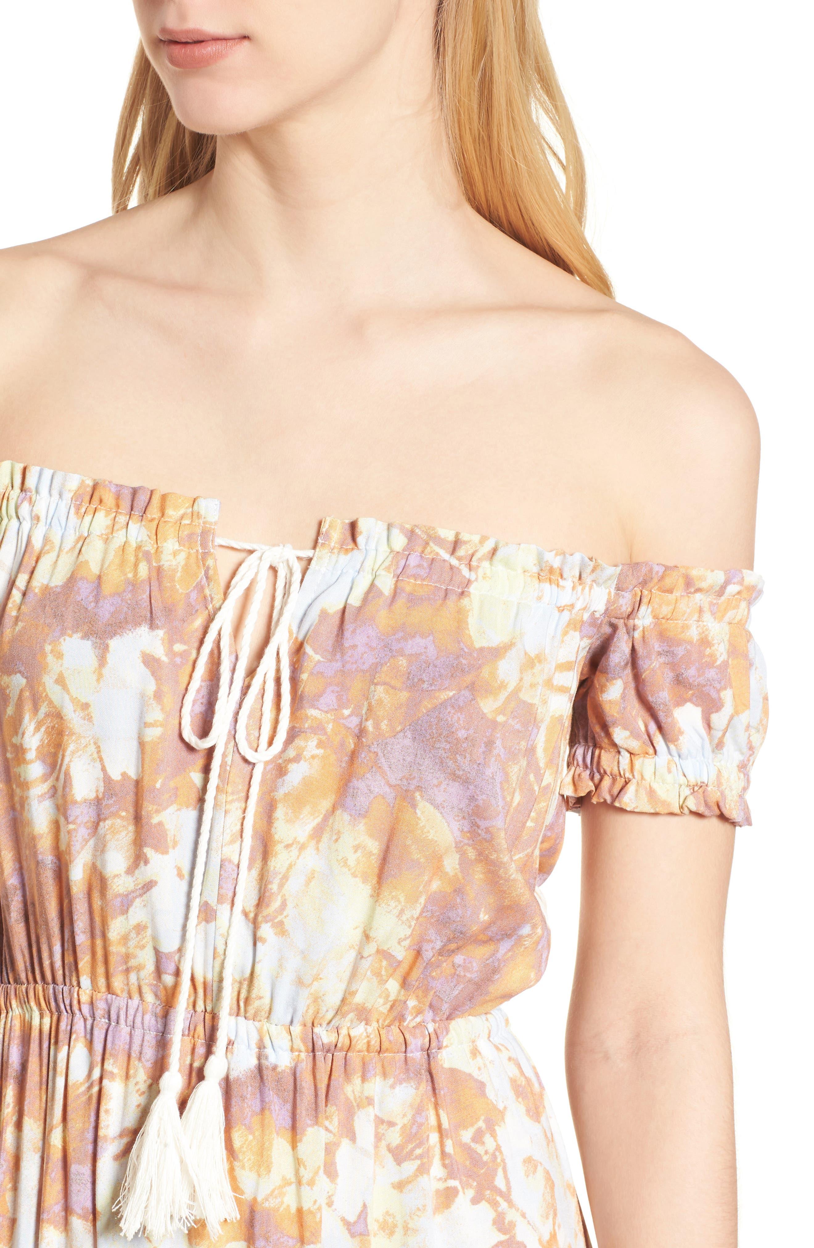 High/Low Hem Off the Shoulder Dress,                             Alternate thumbnail 4, color,