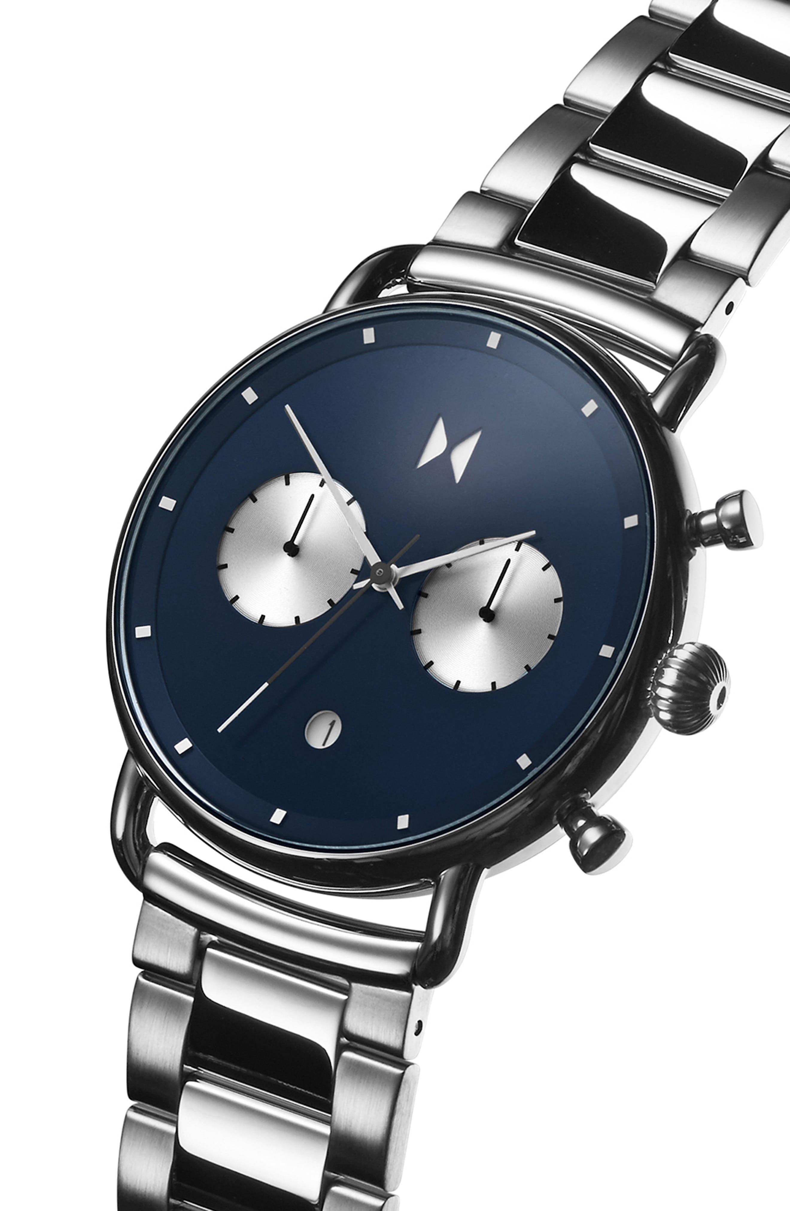 Blacktop Chronograph Bracelet Watch,                             Alternate thumbnail 3, color,                             BLUE/ SILVER