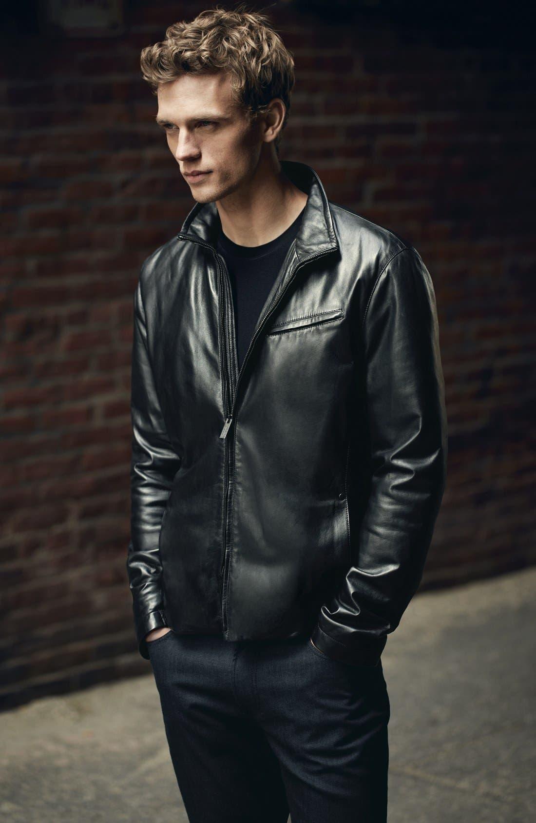 EMPORIO ARMANI,                             Armani Collezioni Blouson Leather Jacket,                             Alternate thumbnail 7, color,                             001