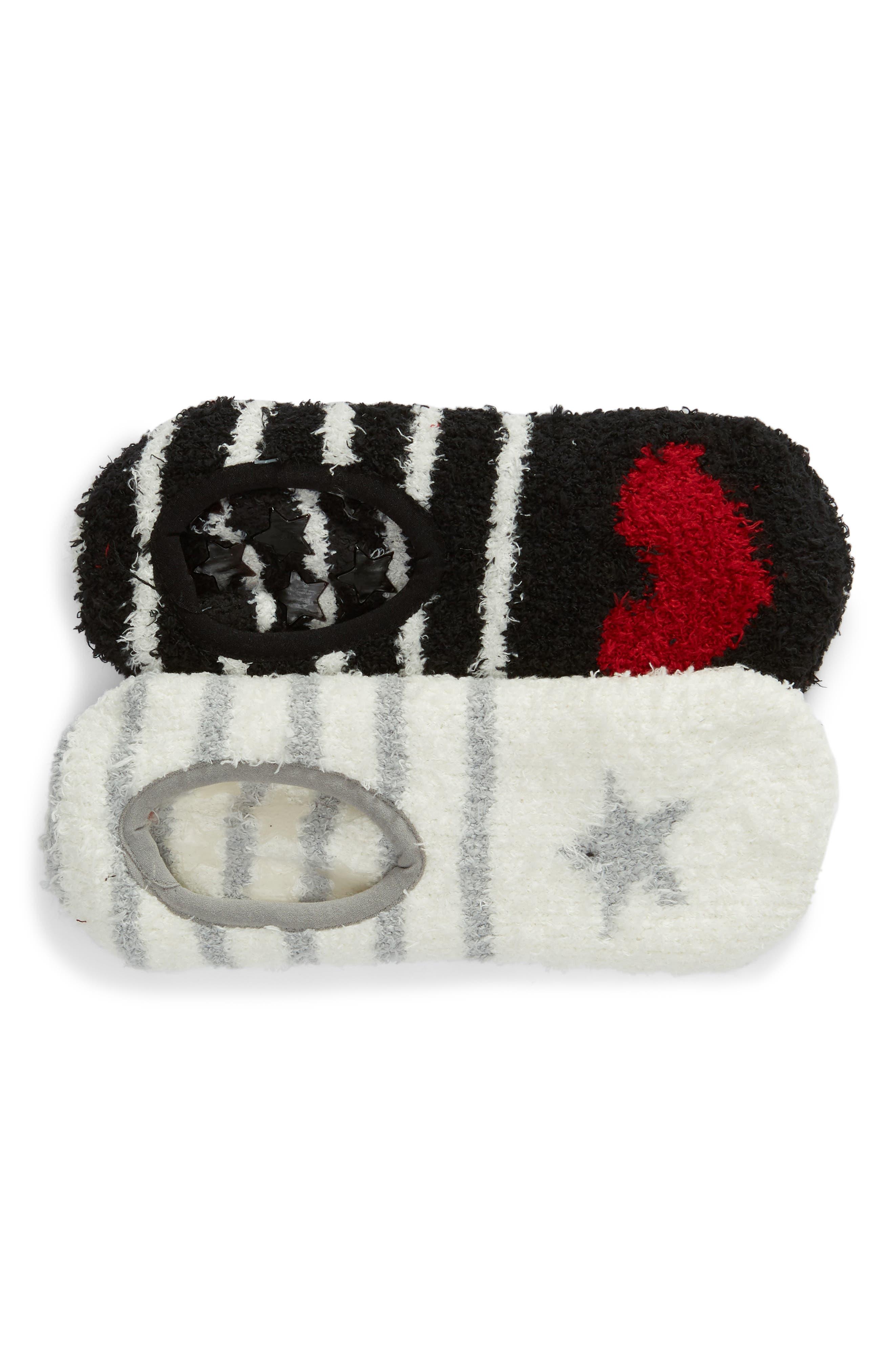 PJ SALVAGE,                             2-Pack Butter Slipper Socks,                             Main thumbnail 1, color,                             STAR/ HEART BLACK