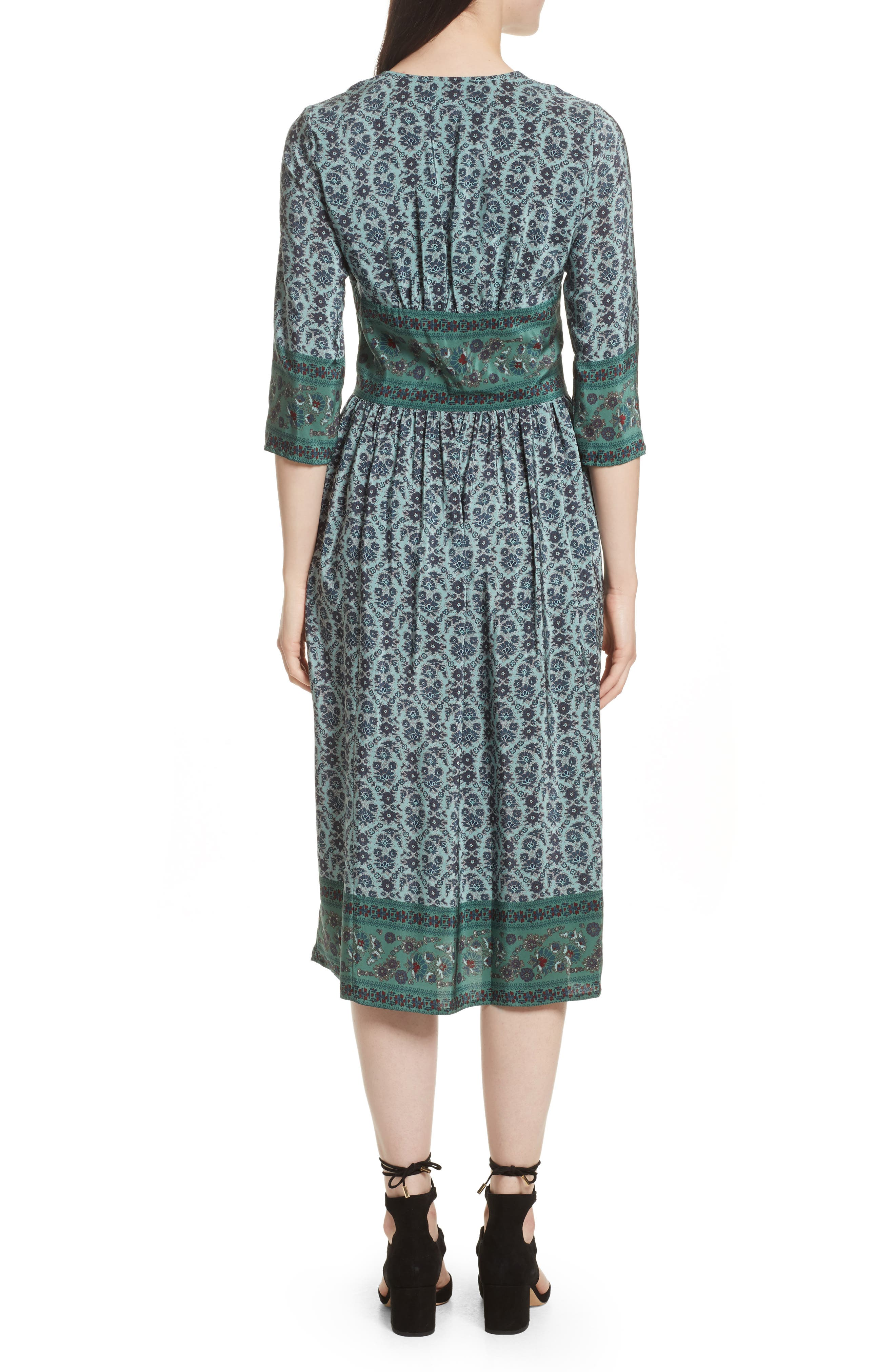 Print Silk Midi Dress,                             Alternate thumbnail 2, color,                             300