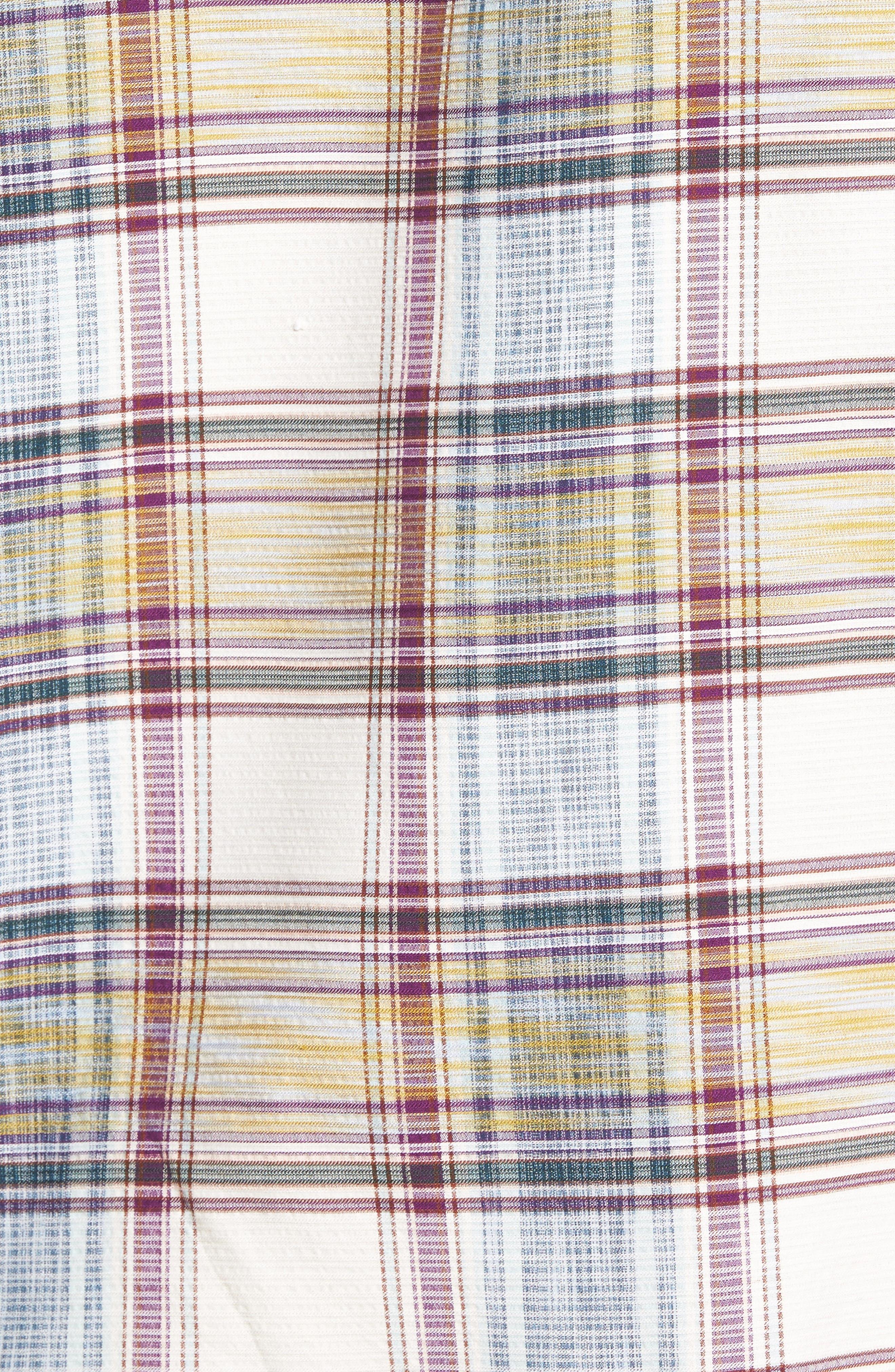 Lazlo Plaid Standard Fit Silk & Cotton Camp Shirt,                             Alternate thumbnail 5, color,                             100