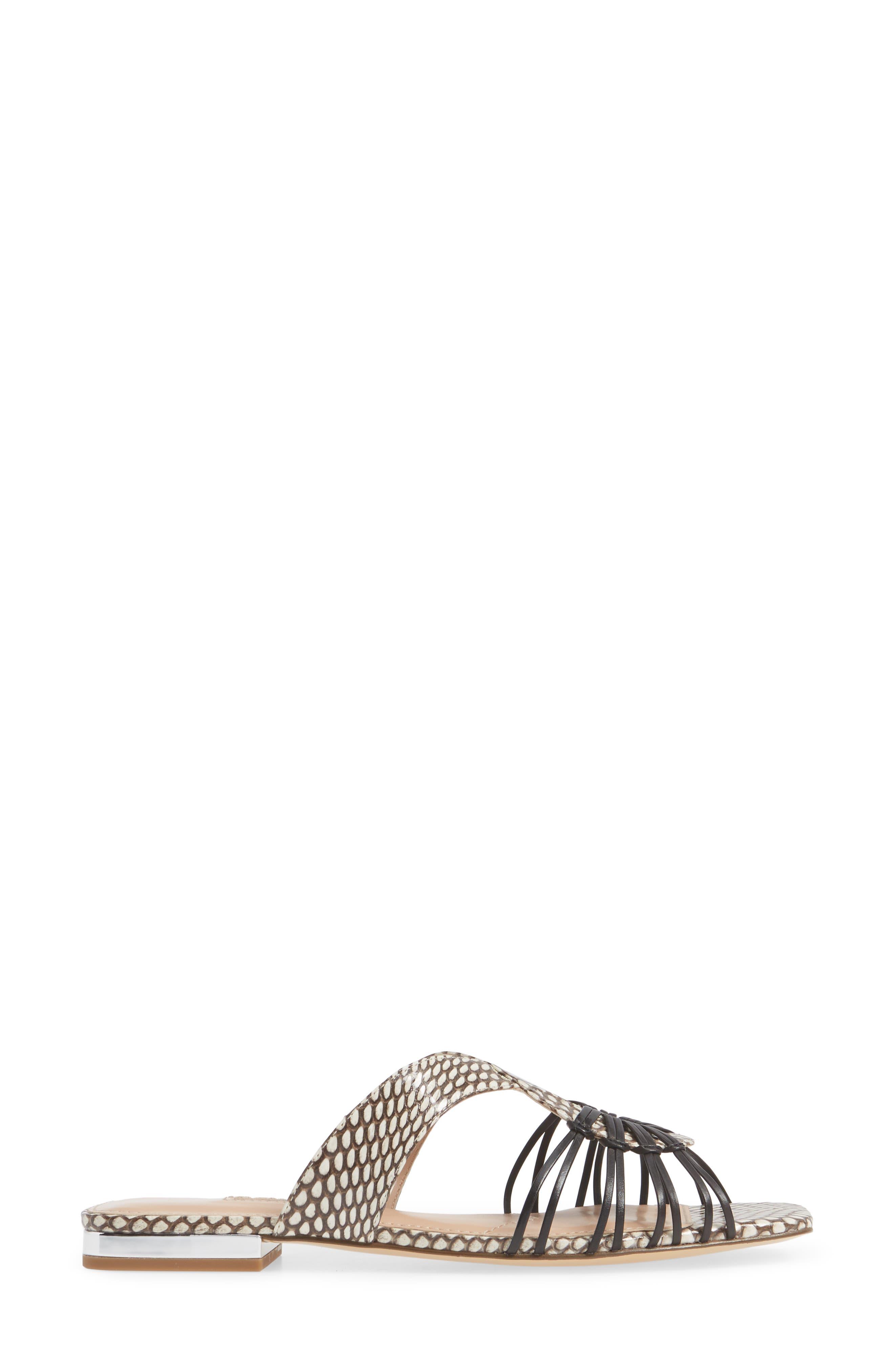 Silvy Sandal,                             Alternate thumbnail 3, color,                             BLACK/WHITE SNAKE LEATHER