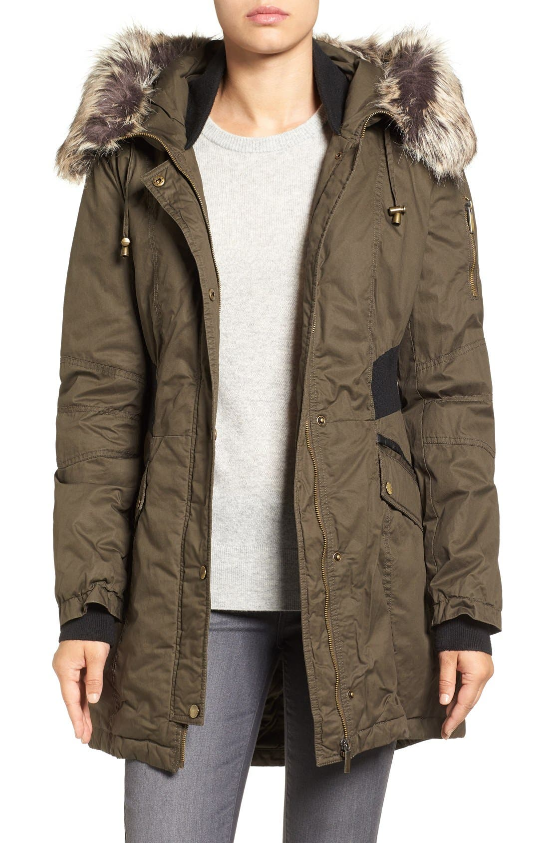 Mixed Media Parka with Faux Fur Trim Hood,                             Main thumbnail 2, color,