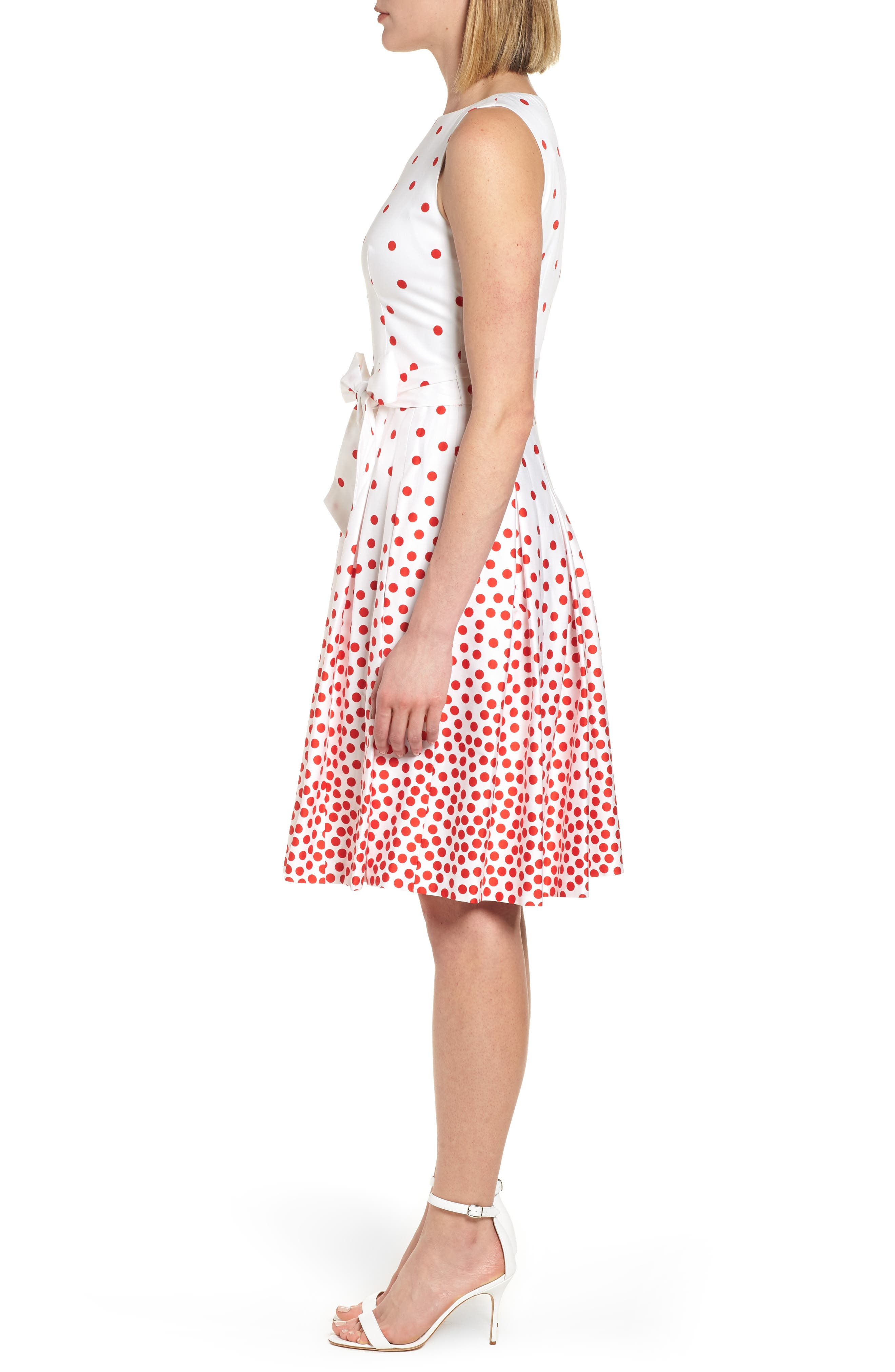 Scattered Dot Stretch Cotton Dress,                             Alternate thumbnail 3, color,                             100