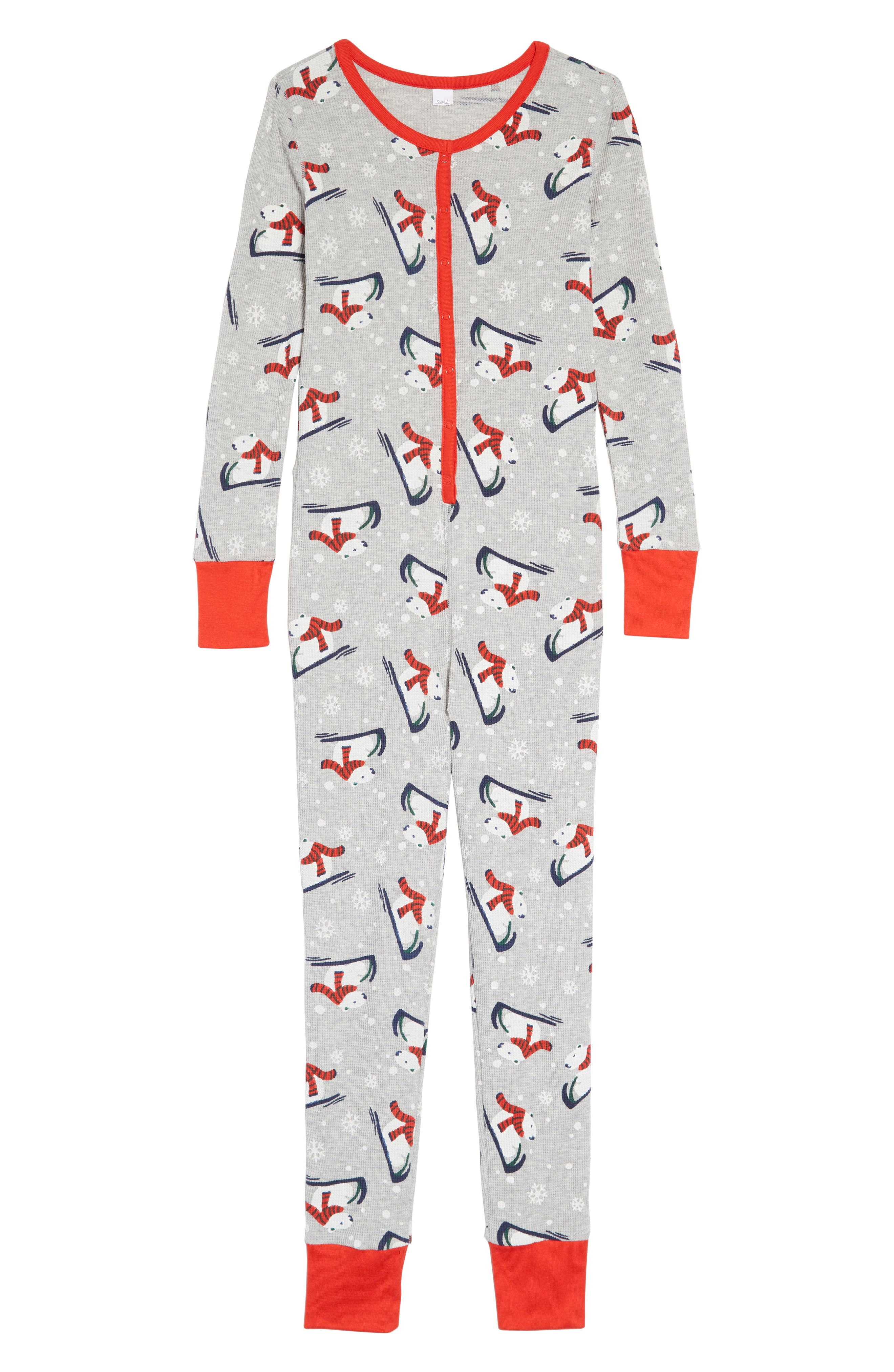 Thermal Fitted One-Piece Pajamas,                         Main,                         color, GREY PEARL HEATHER POLAR BEAR