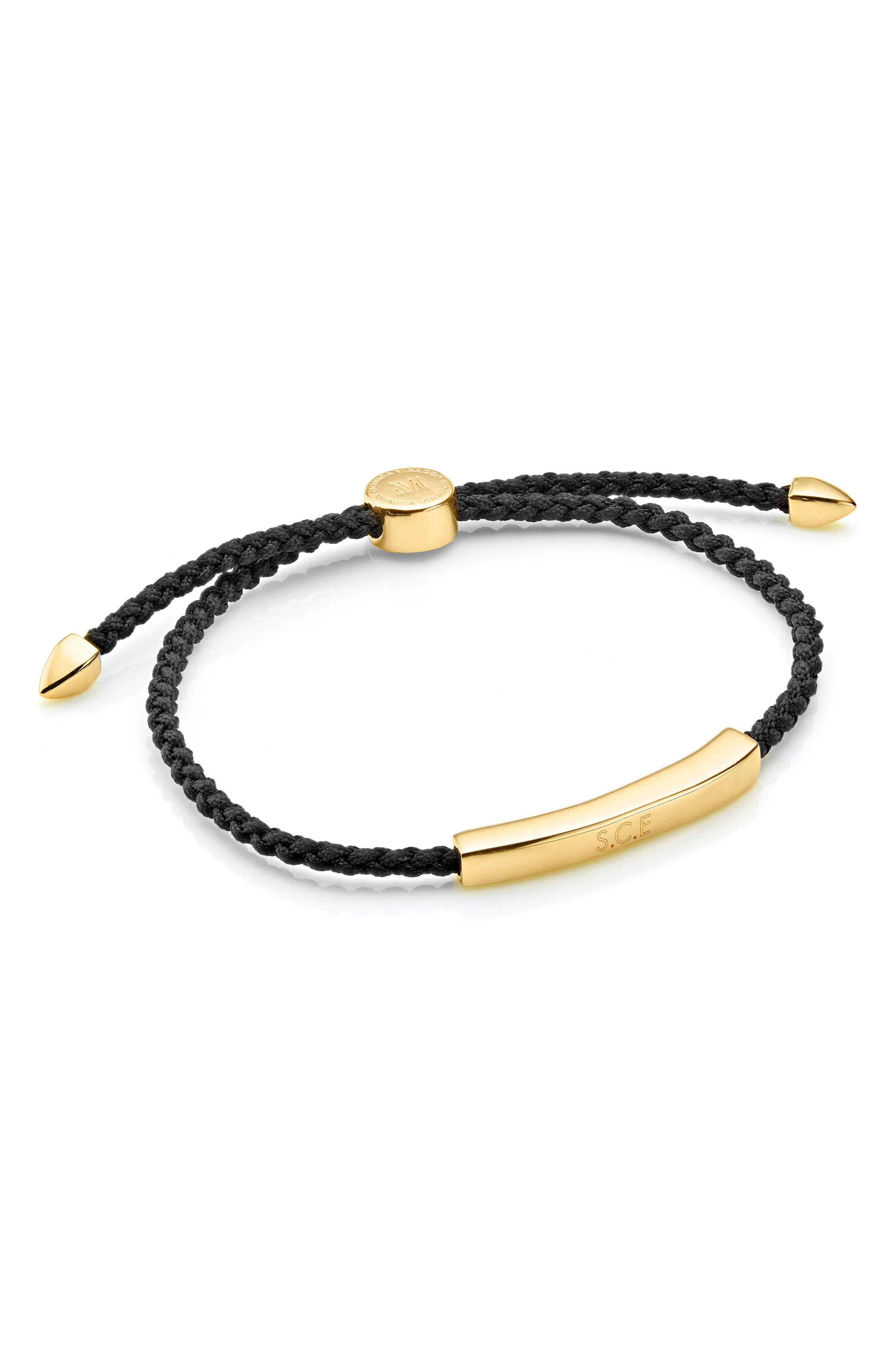 Engravable Men's Linear Friendship Bracelet,                             Alternate thumbnail 2, color,                             BLACK/ YELLOW GOLD