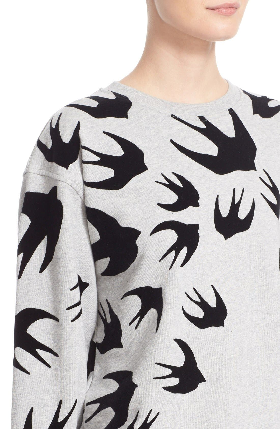 Flocked Swallow Sweatshirt,                             Alternate thumbnail 4, color,                             020