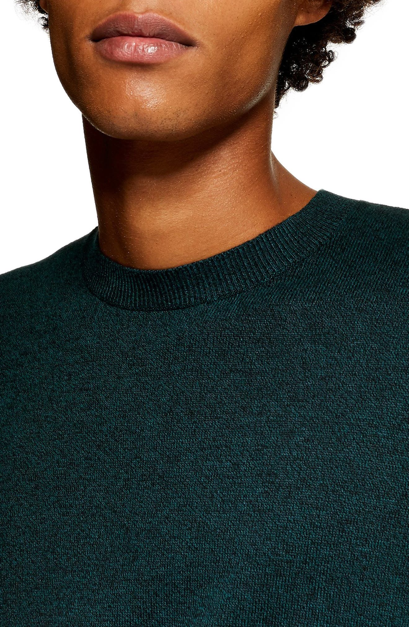 Marl Crewneck Sweater,                             Alternate thumbnail 3, color,                             GREEN