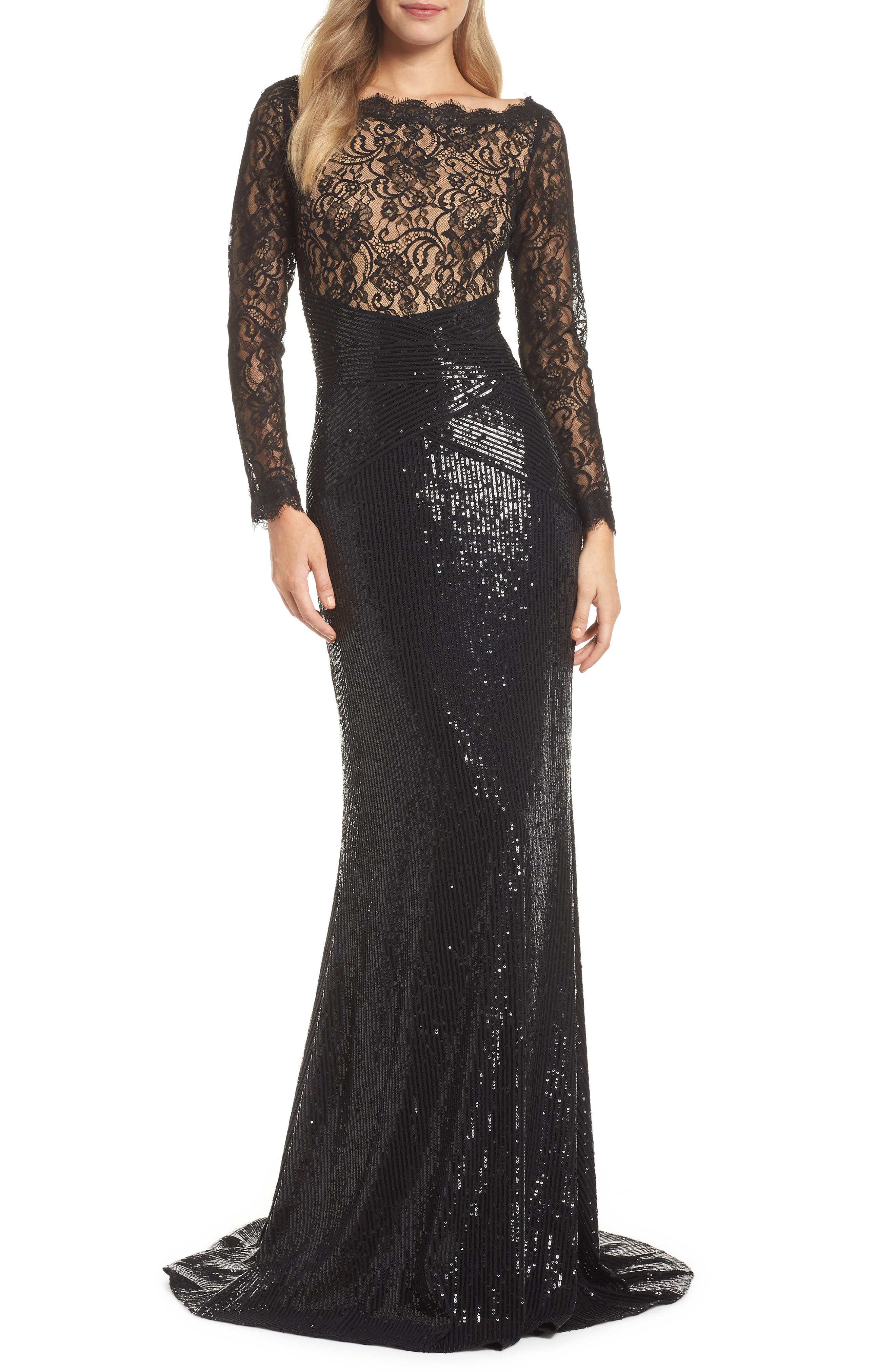 Lace & Sequin Gown,                             Main thumbnail 1, color,                             BLACK/ NUDE