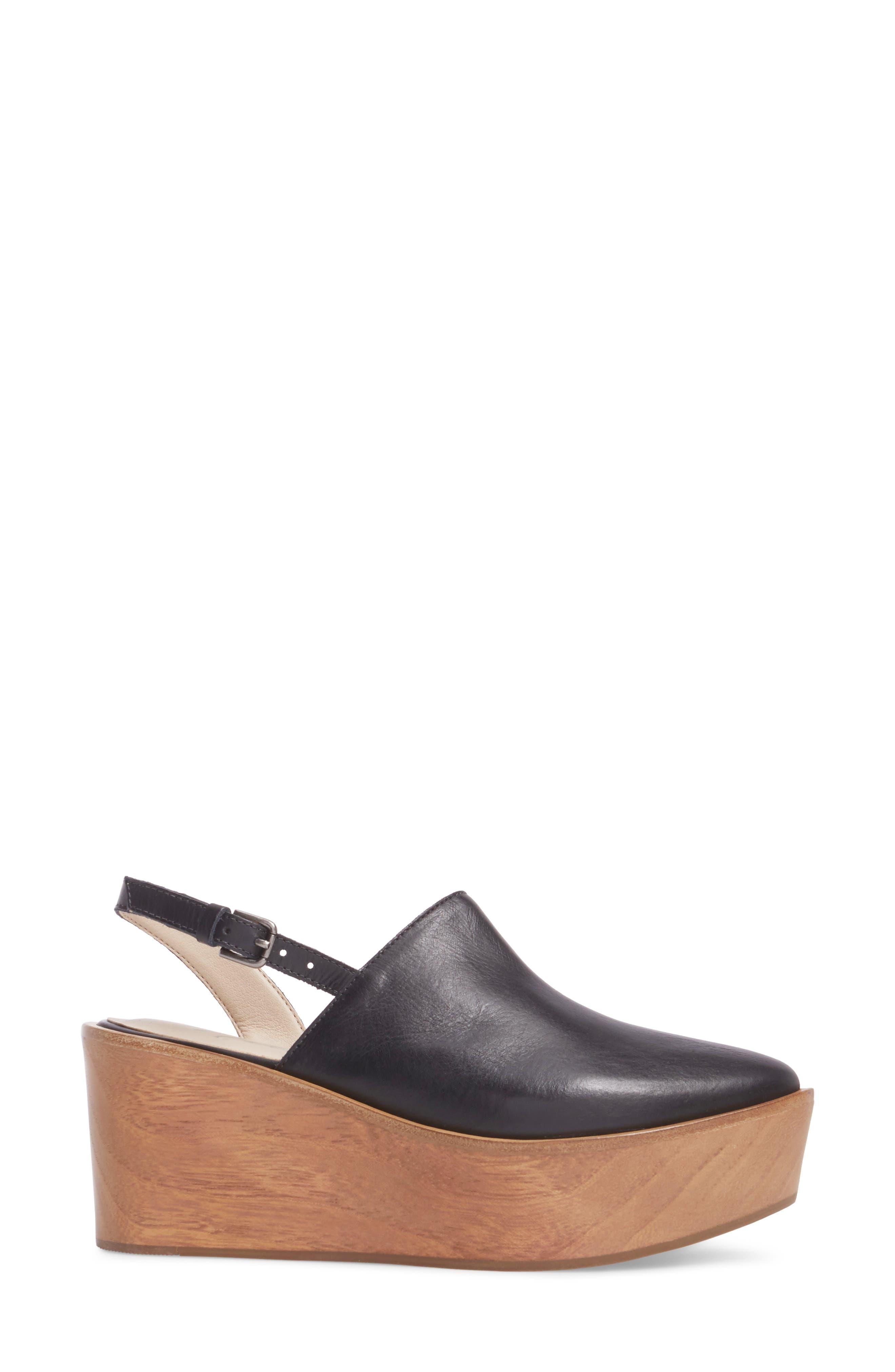Eyals Slingback Platform Wedge Sandal,                             Alternate thumbnail 3, color,                             BLACK LEATHER