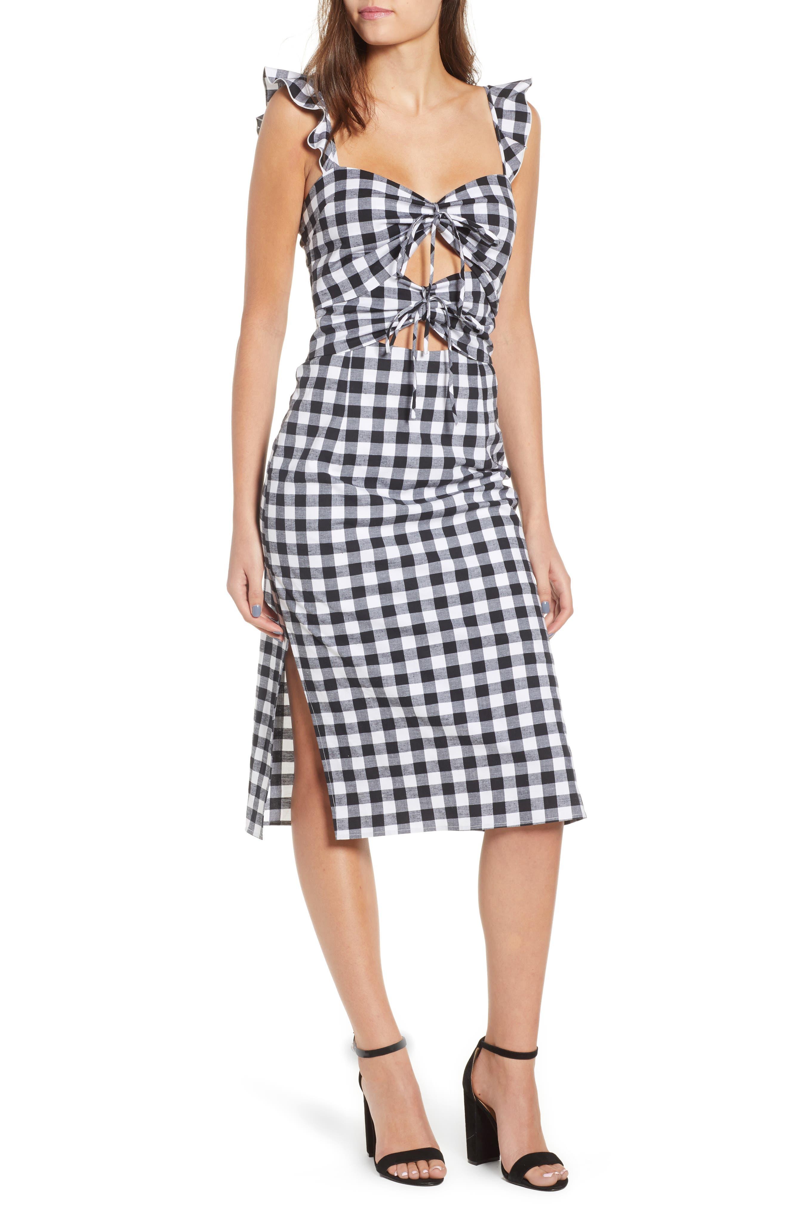 Verona Cutout Midi Dress,                             Main thumbnail 1, color,                             001