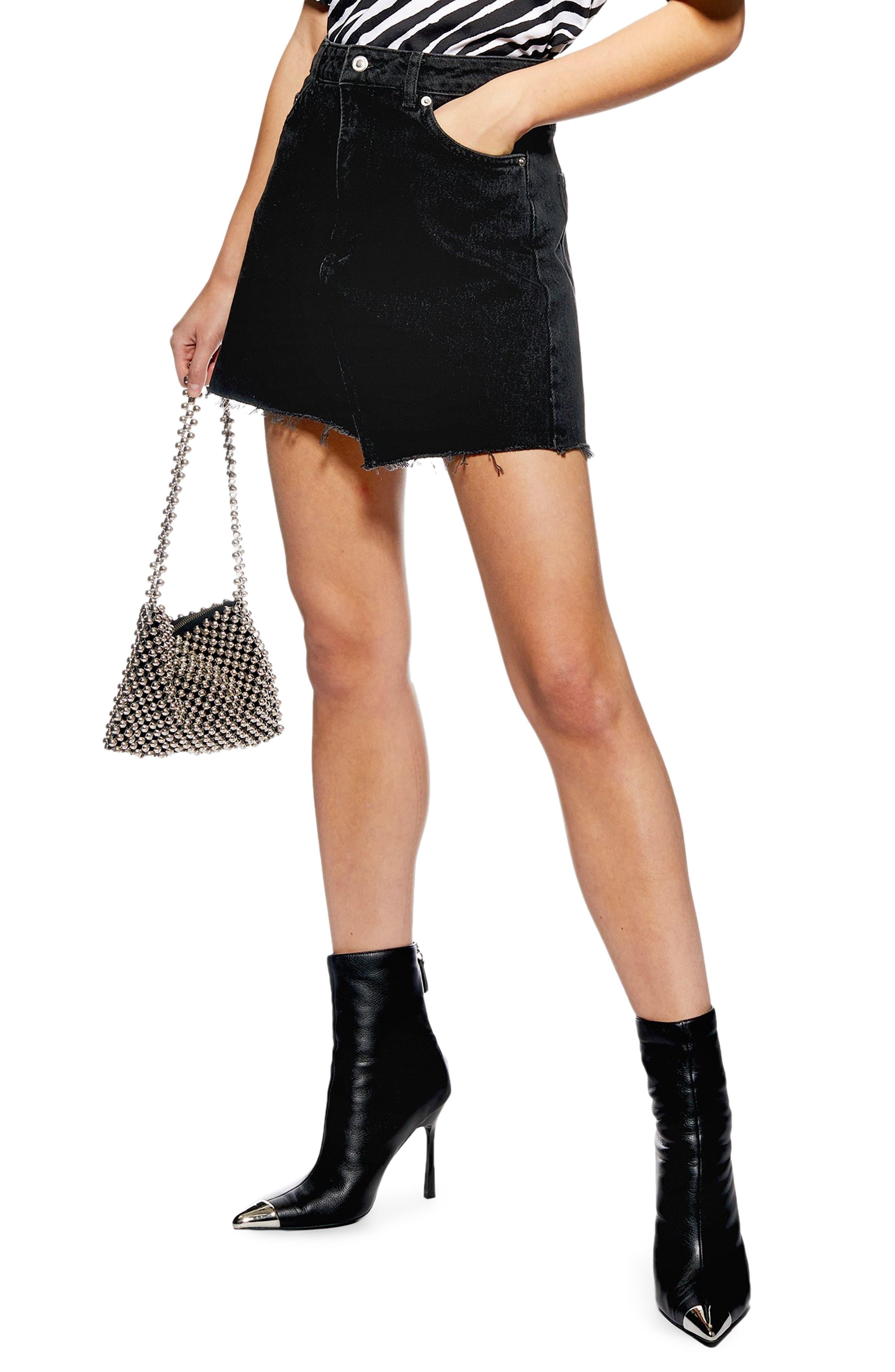 Topshop Asymmetrical Denim Miniskirt, US (fits like 10-12) - Black
