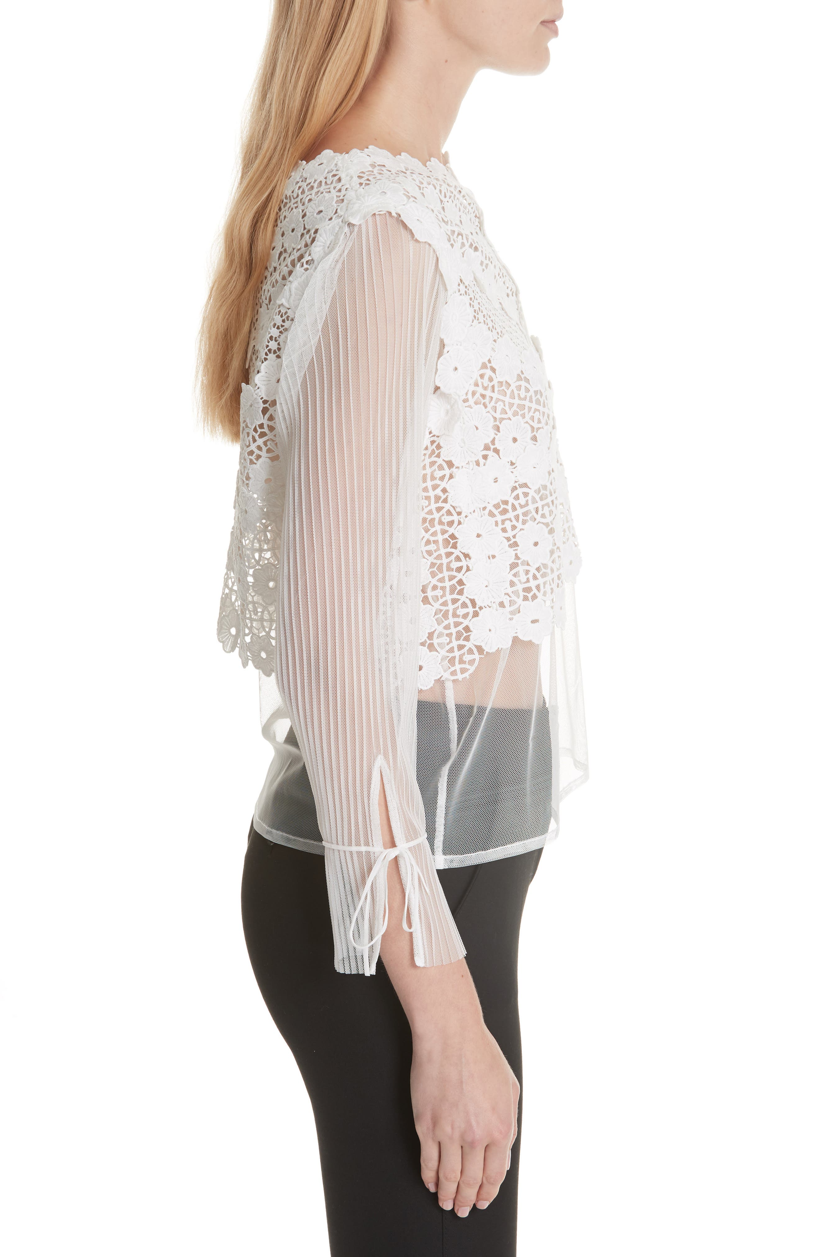 Tulle Lace Top,                             Alternate thumbnail 3, color,                             100