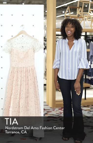 Penelope Baby Bud Embroidered Fit & Flare Midi Dress, sales video thumbnail