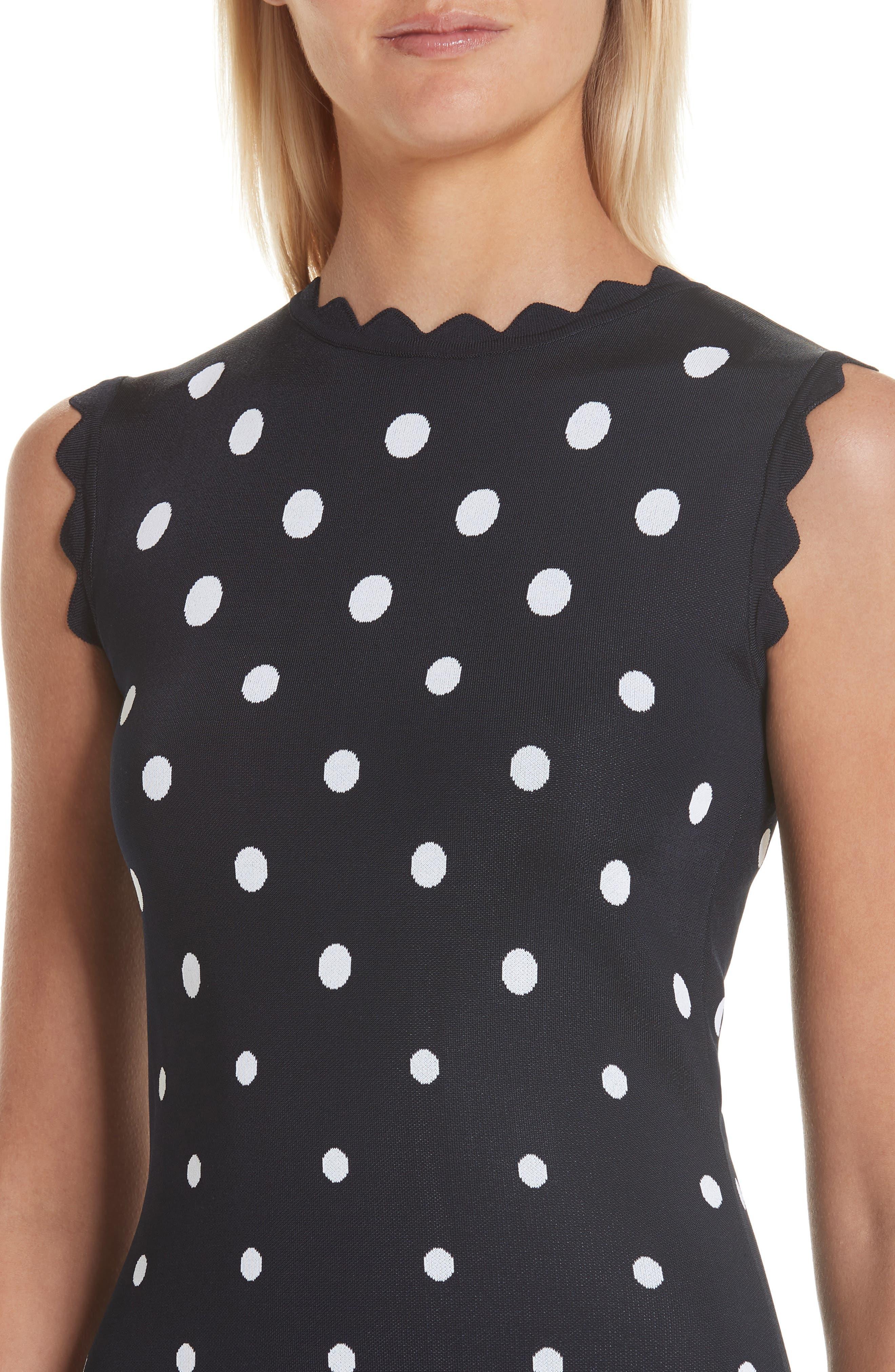Scallop Edge Polka Dot A-Line Dress,                             Alternate thumbnail 4, color,                             NVW-NAVY/ WHITE