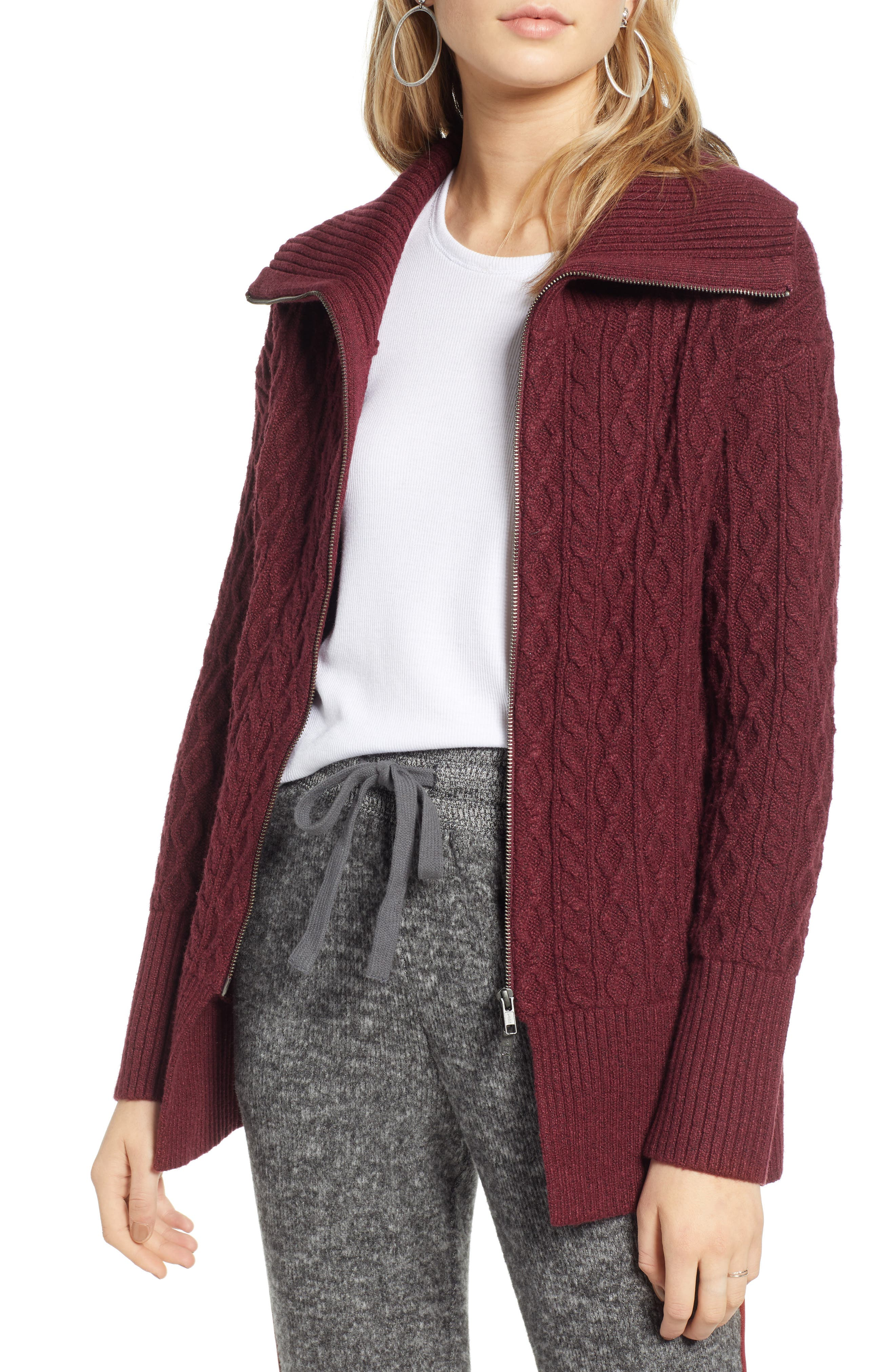 Treasure & Bond Cable Knit Zip Cardigan, Red