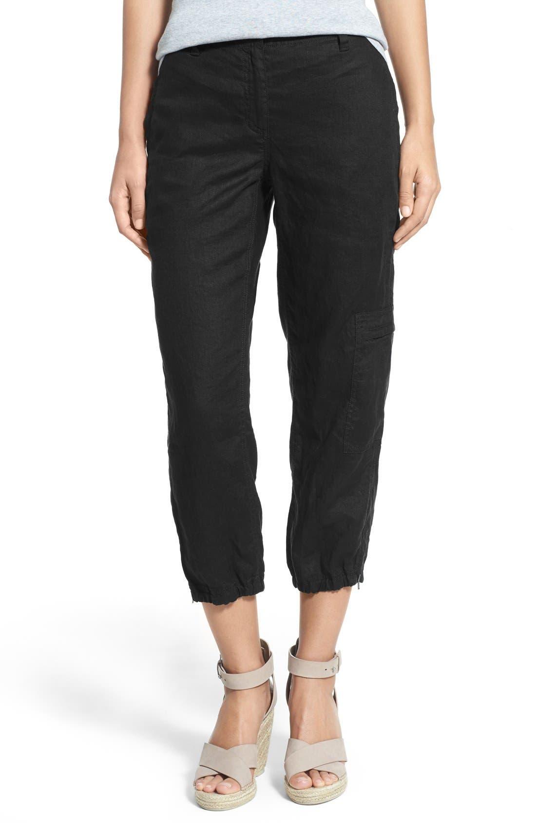 Organic Linen Cargo Ankle Pants,                             Main thumbnail 1, color,                             001