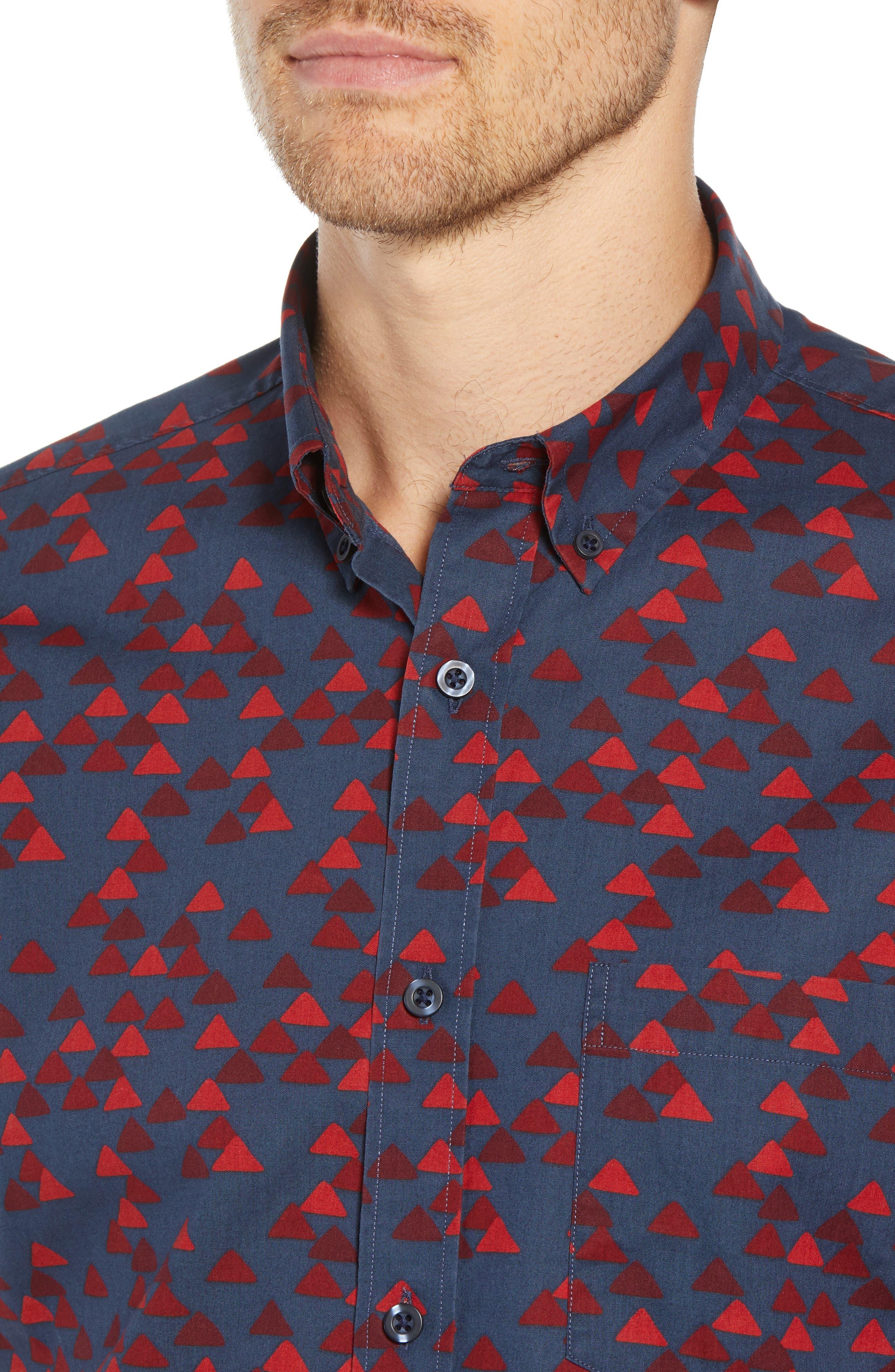 Ivy Trim Fit Print Sport Shirt,                             Alternate thumbnail 4, color,                             NAVY IRIS BURGUNDY TRIANGLES