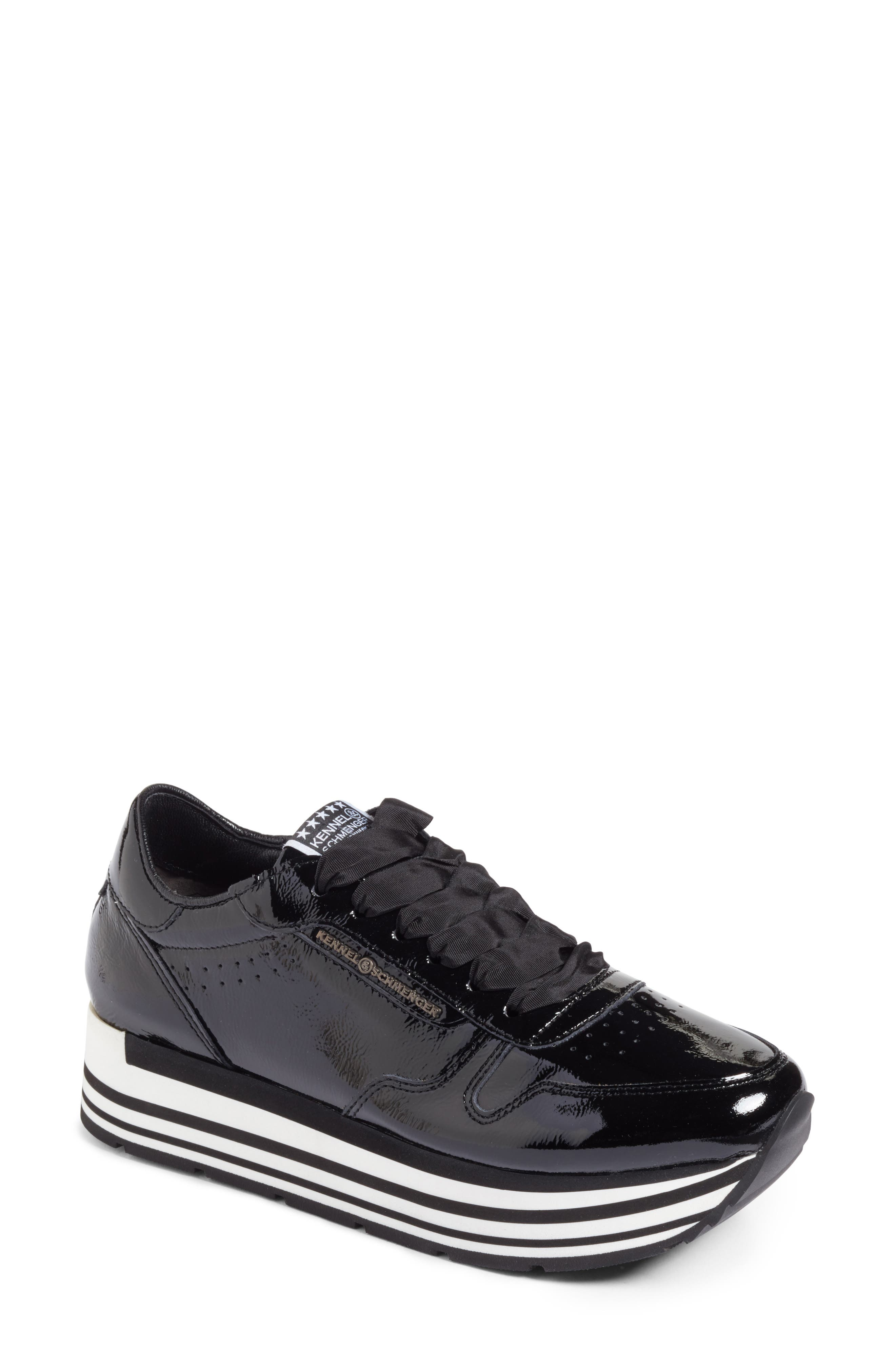 Kennel & Schmenger Nova Patent Leather Sneaker,                             Main thumbnail 1, color,                             001