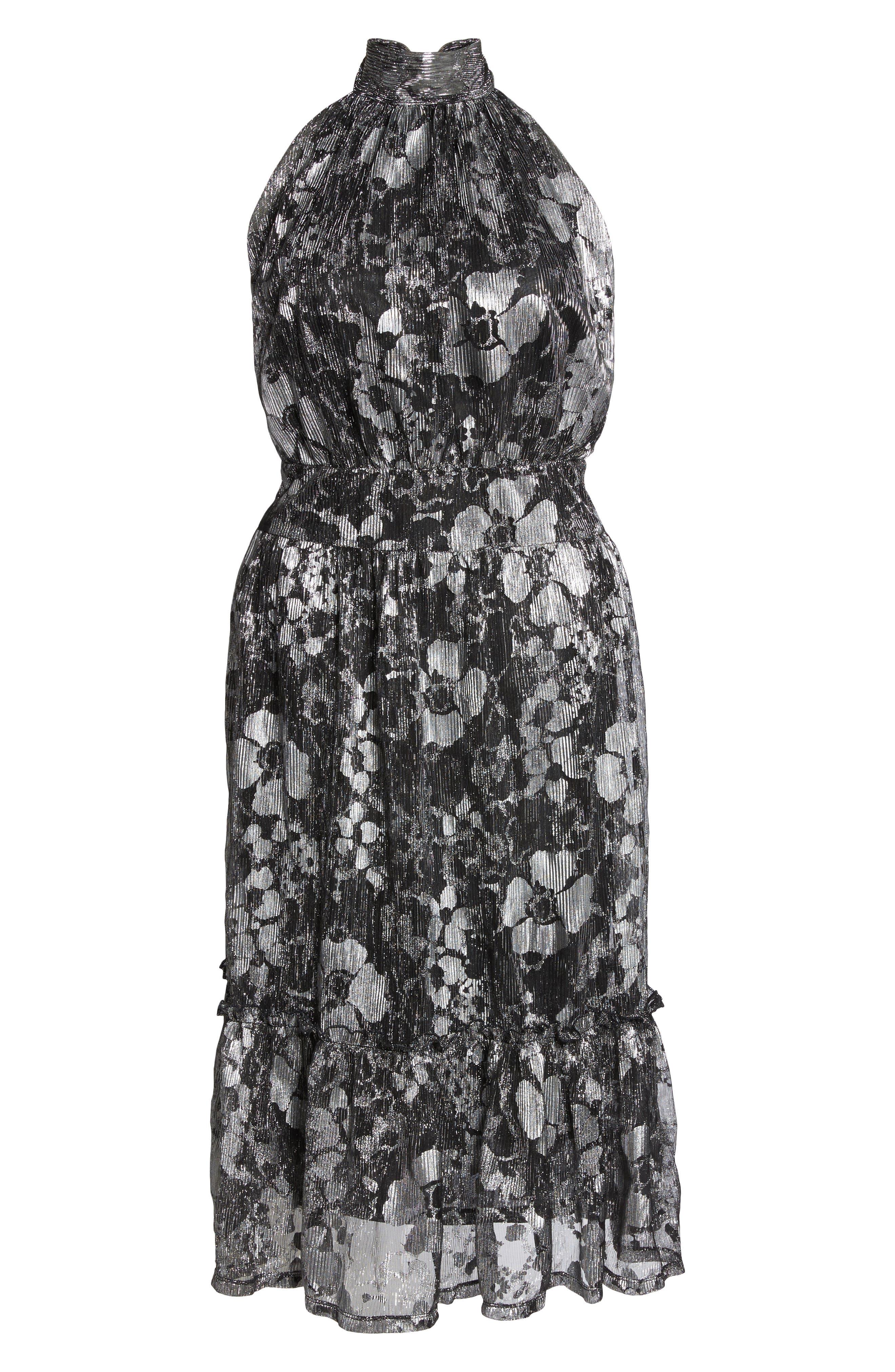 Floral Metallic Midi Dress,                             Alternate thumbnail 6, color,                             016