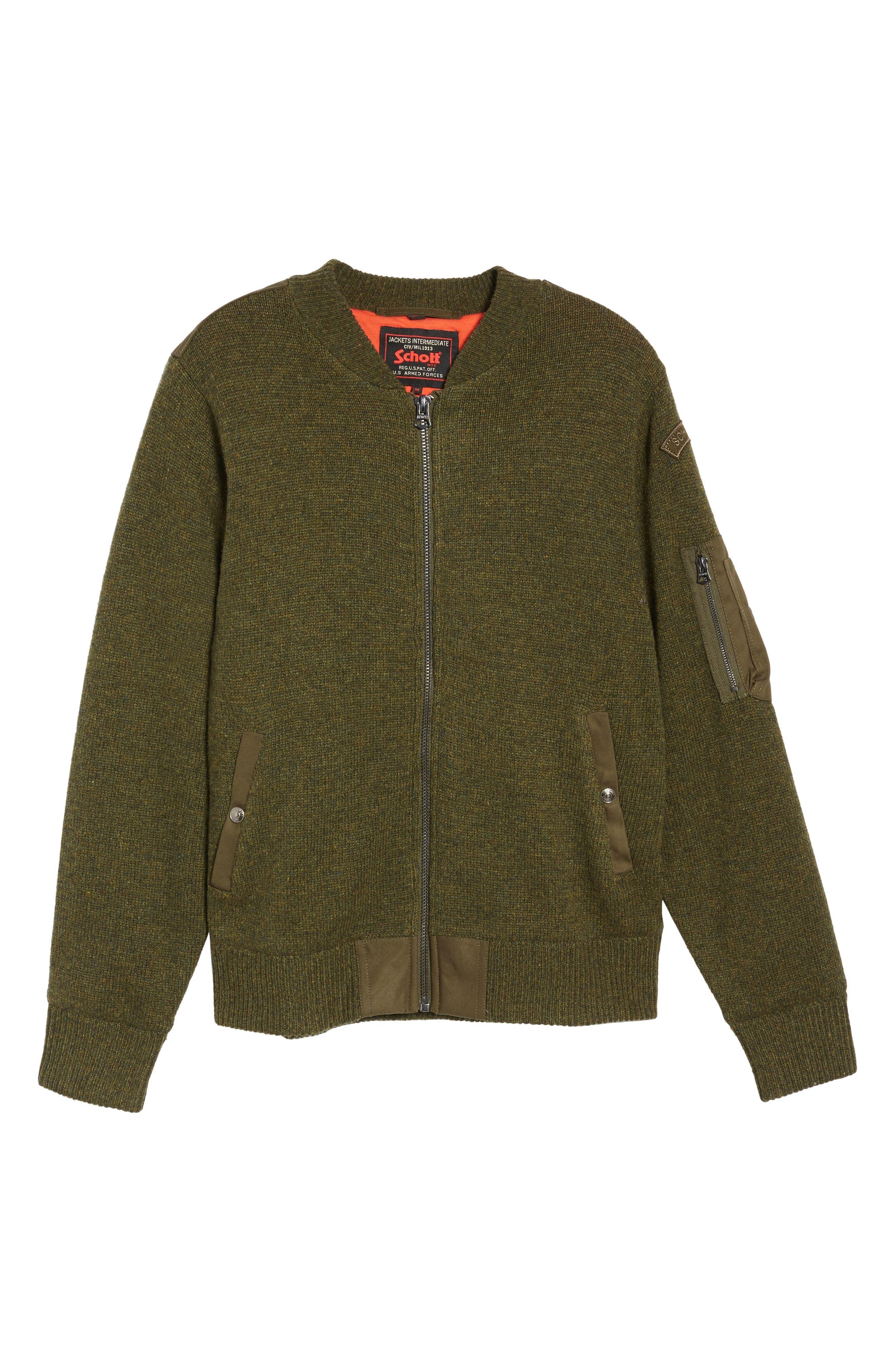 MA-1 Sweater Jacket,                             Alternate thumbnail 6, color,                             MOSS GREEN