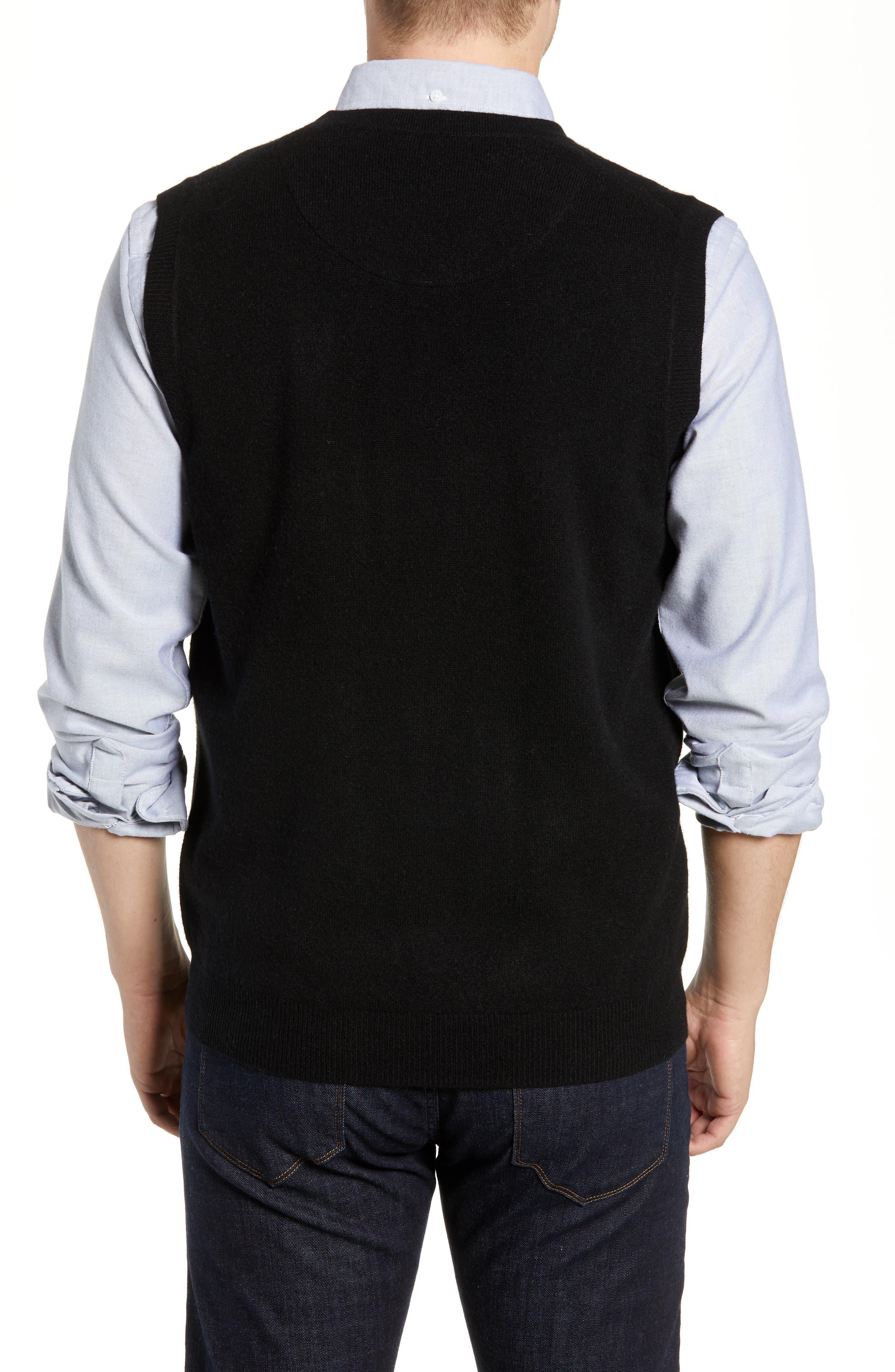 Cashmere V-Neck Sweater Vest,                             Alternate thumbnail 2, color,                             BLACK CAVIAR