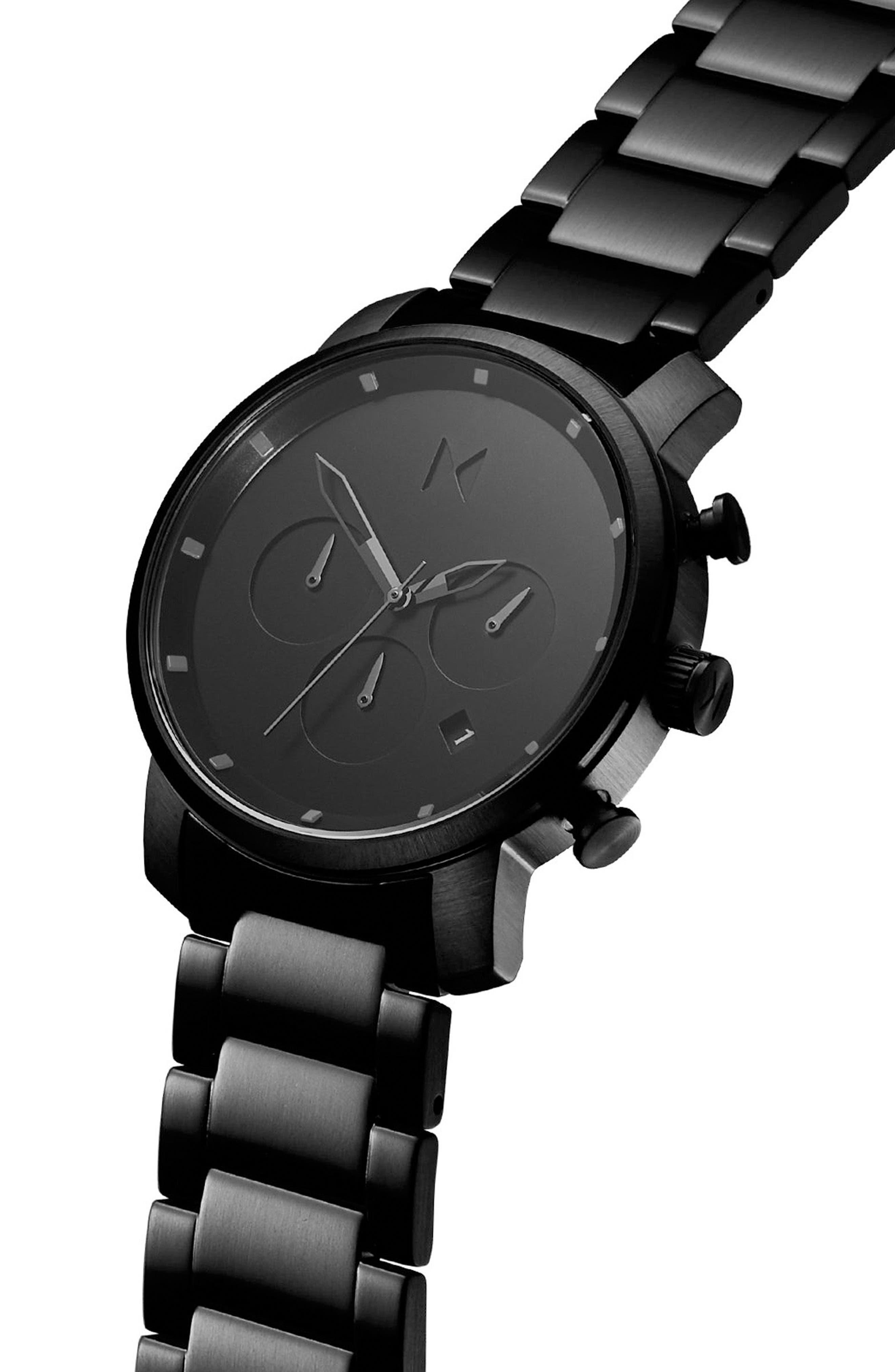 Chrono Chronograph Bracelet Watch, 40mm,                             Alternate thumbnail 3, color,                             ALL BLACK