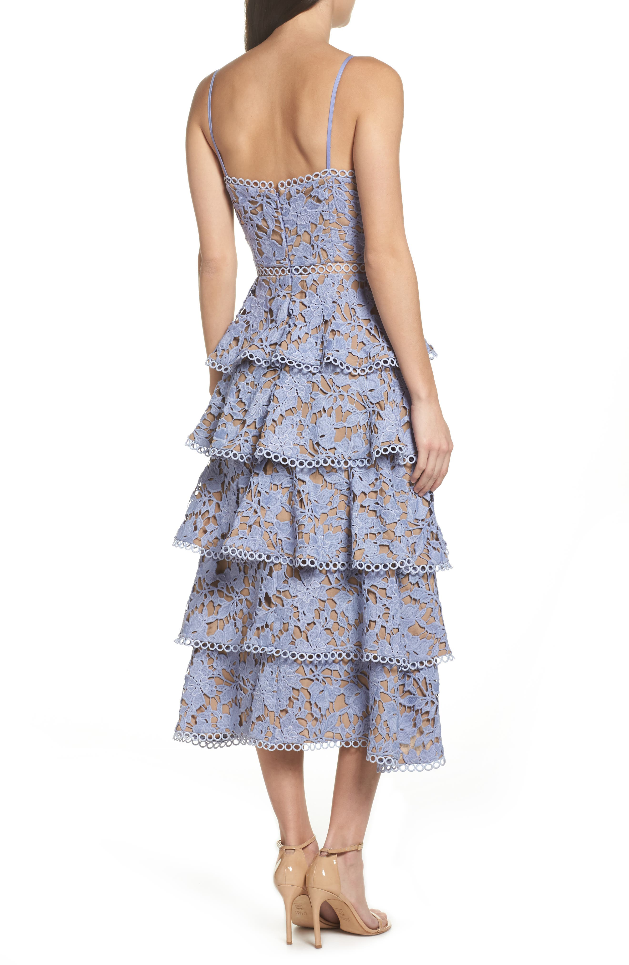 Camellia Lace Tiered Midi Dress,                             Alternate thumbnail 2, color,                             VIOLET