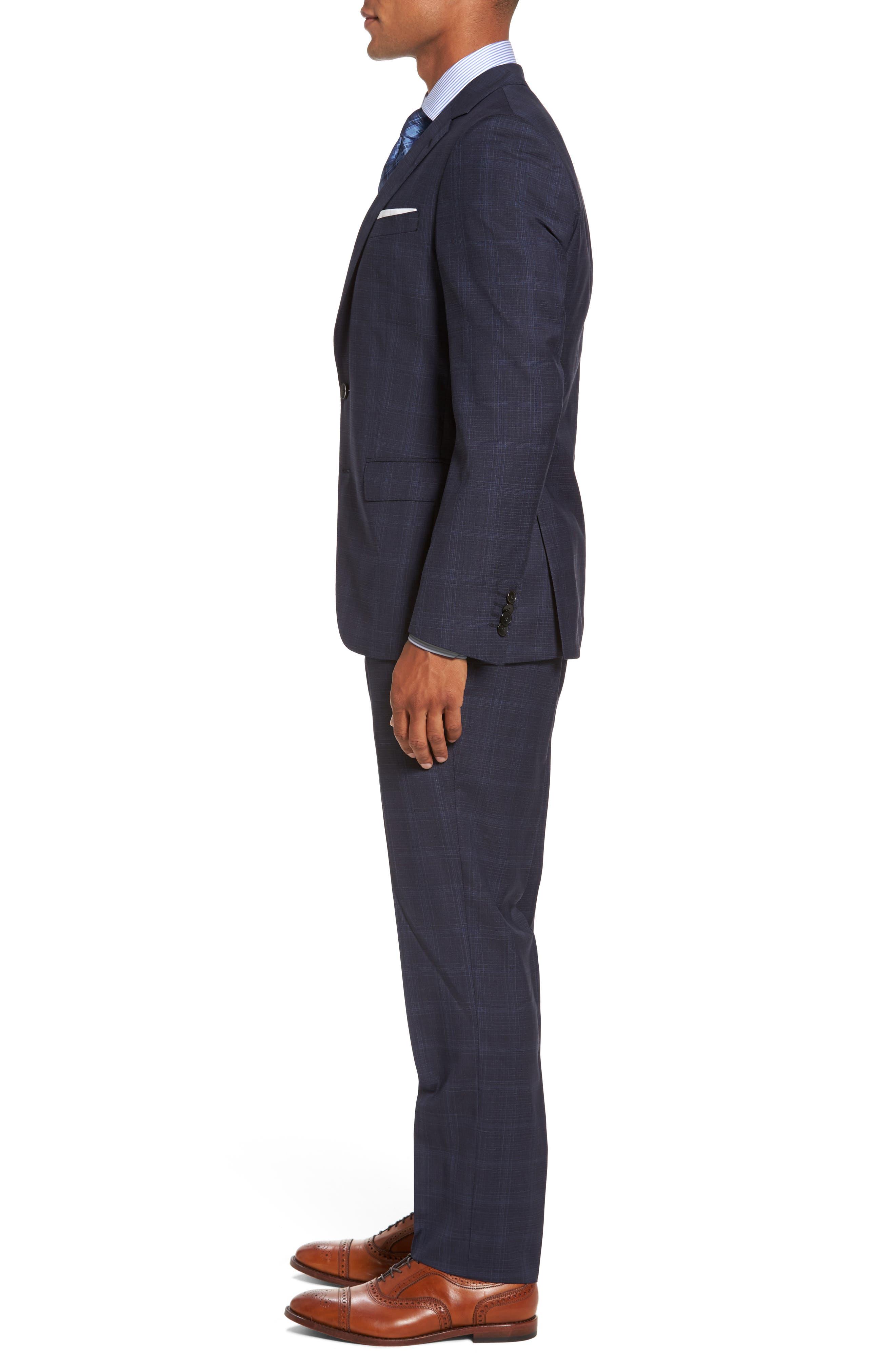 Huge/Genius Trim Fit Plaid Wool Suit,                             Alternate thumbnail 3, color,                             410