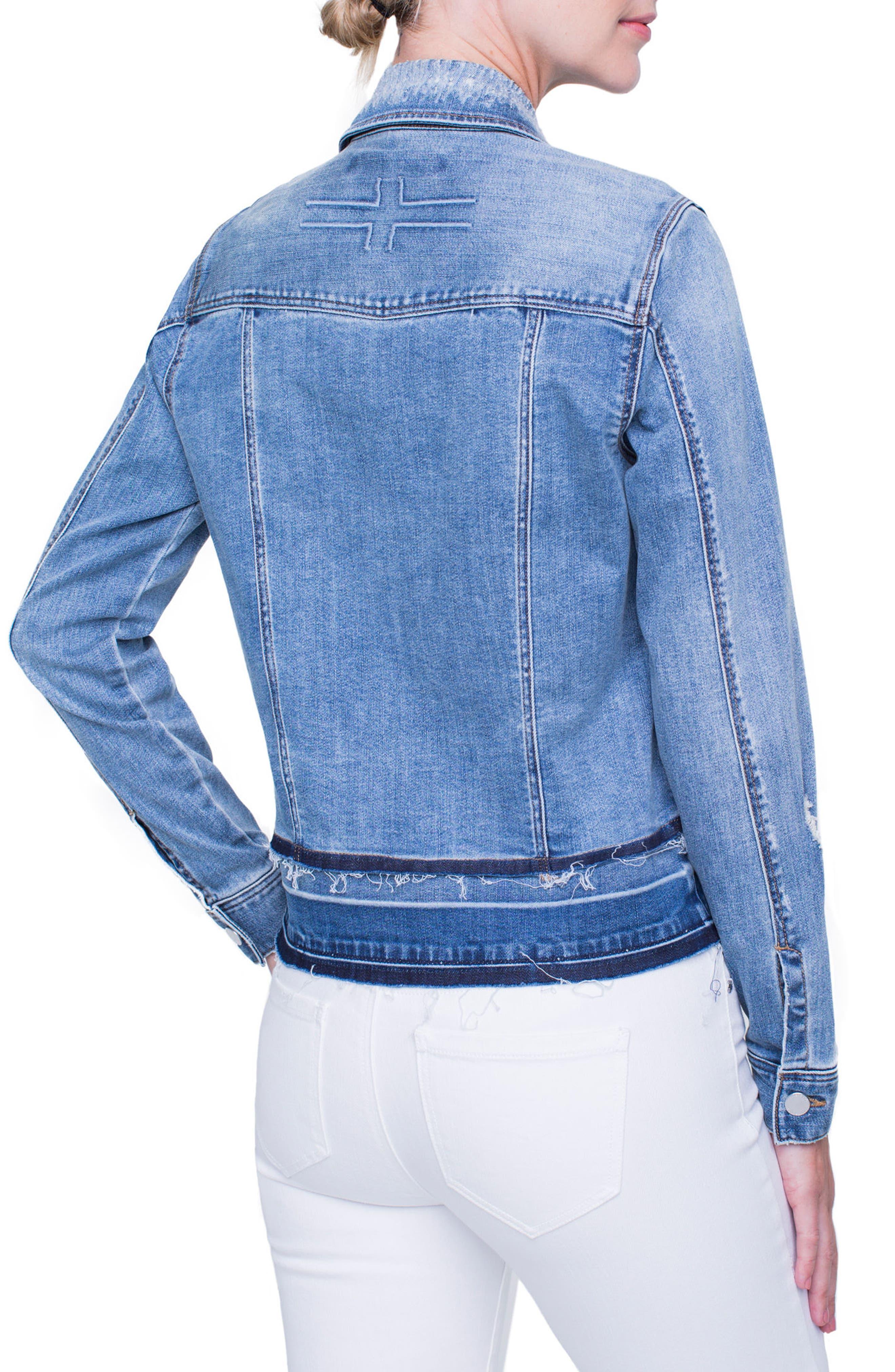 Tiered Hem Denim Jacket,                             Alternate thumbnail 4, color,                             BLUE