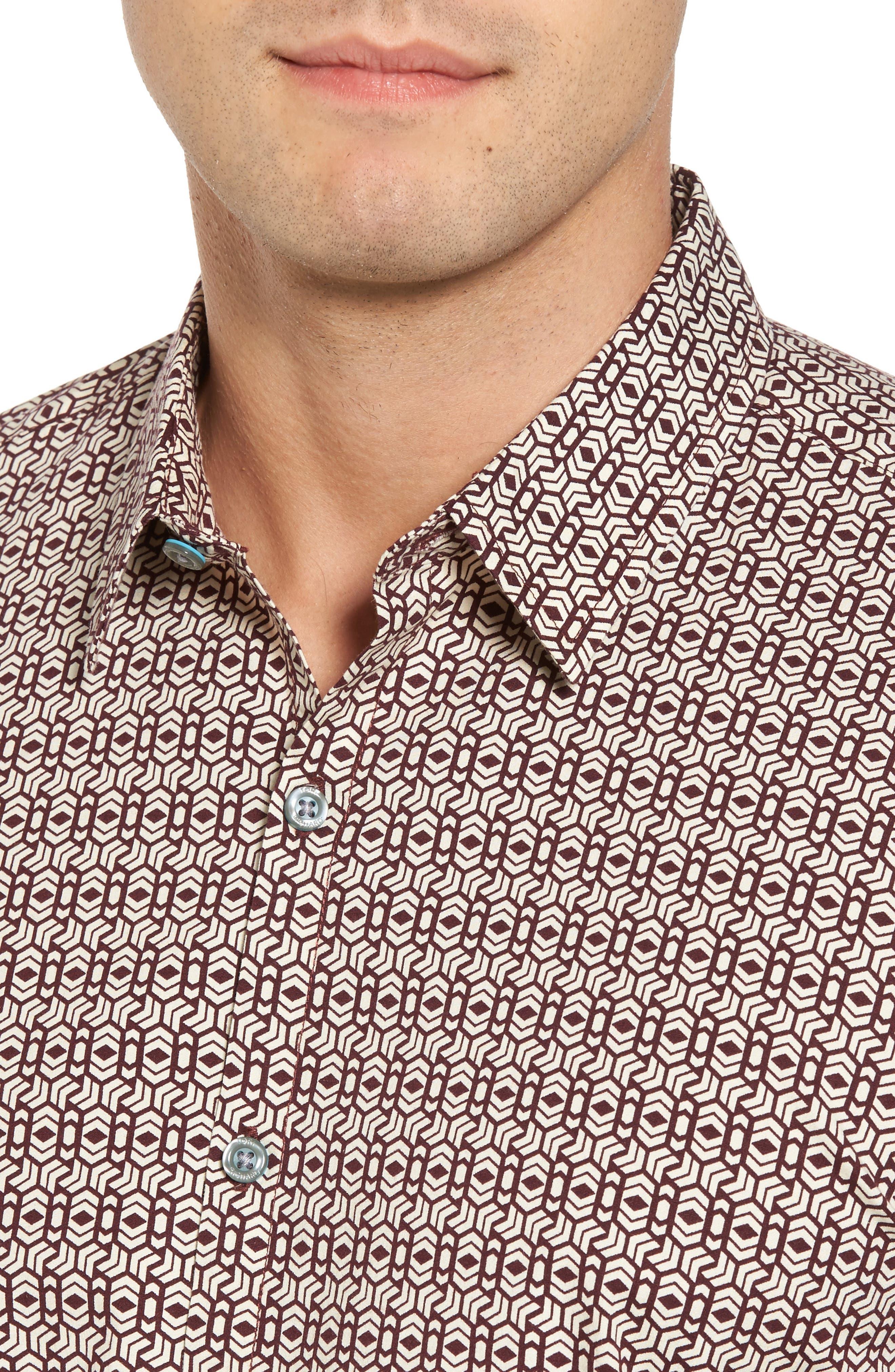 Chevrons Slim Fit Camp Shirt,                             Alternate thumbnail 4, color,