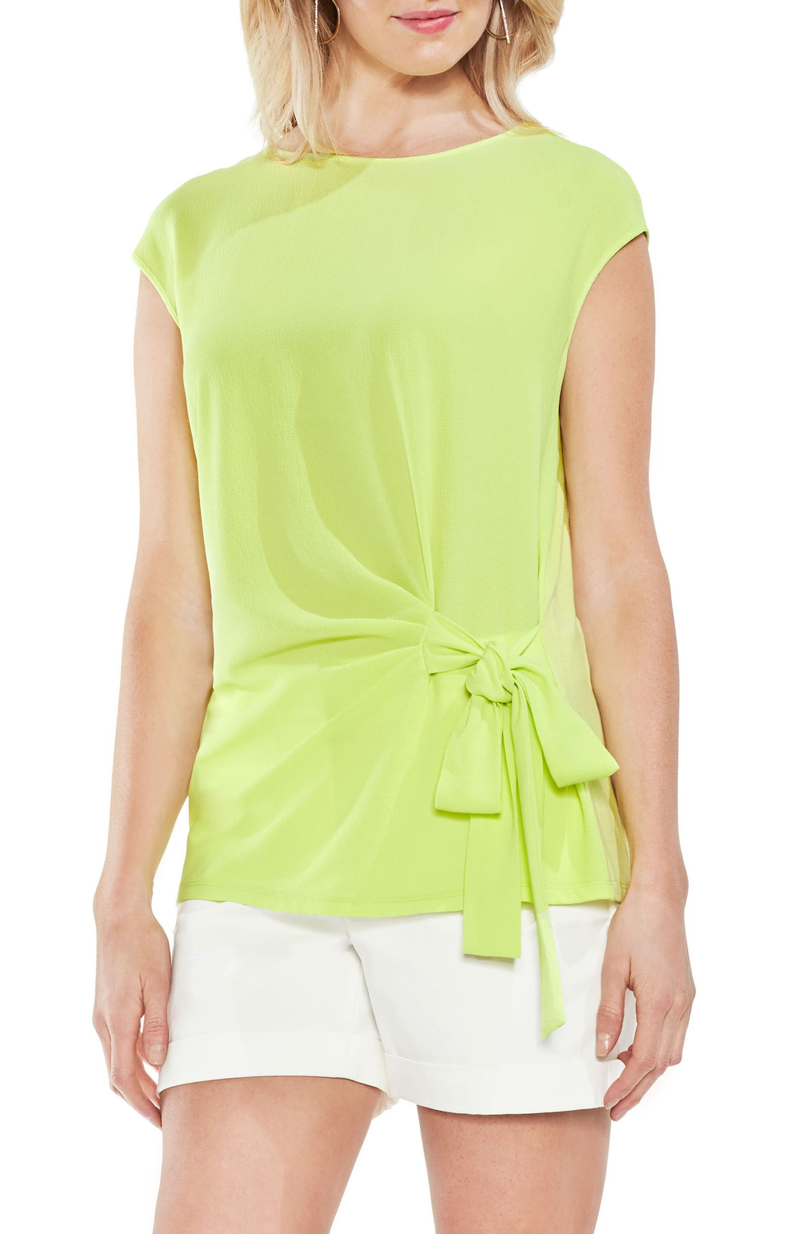 Side Tie Ruched Stretch Crepe Top,                         Main,                         color, 300