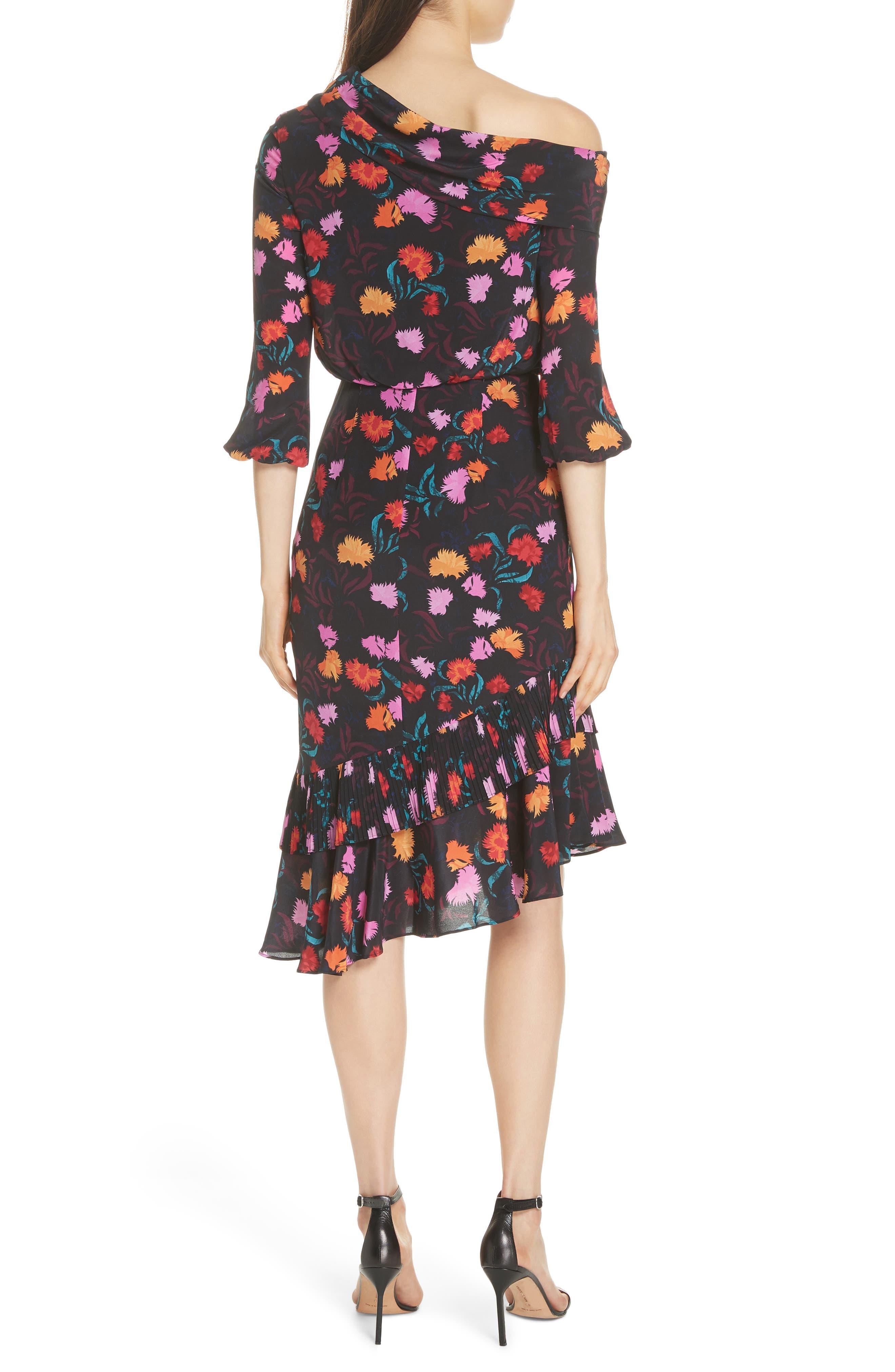Lexie Floral Print Silk Off the Shoulder Dress,                             Alternate thumbnail 2, color,                             BLACK AZALEA