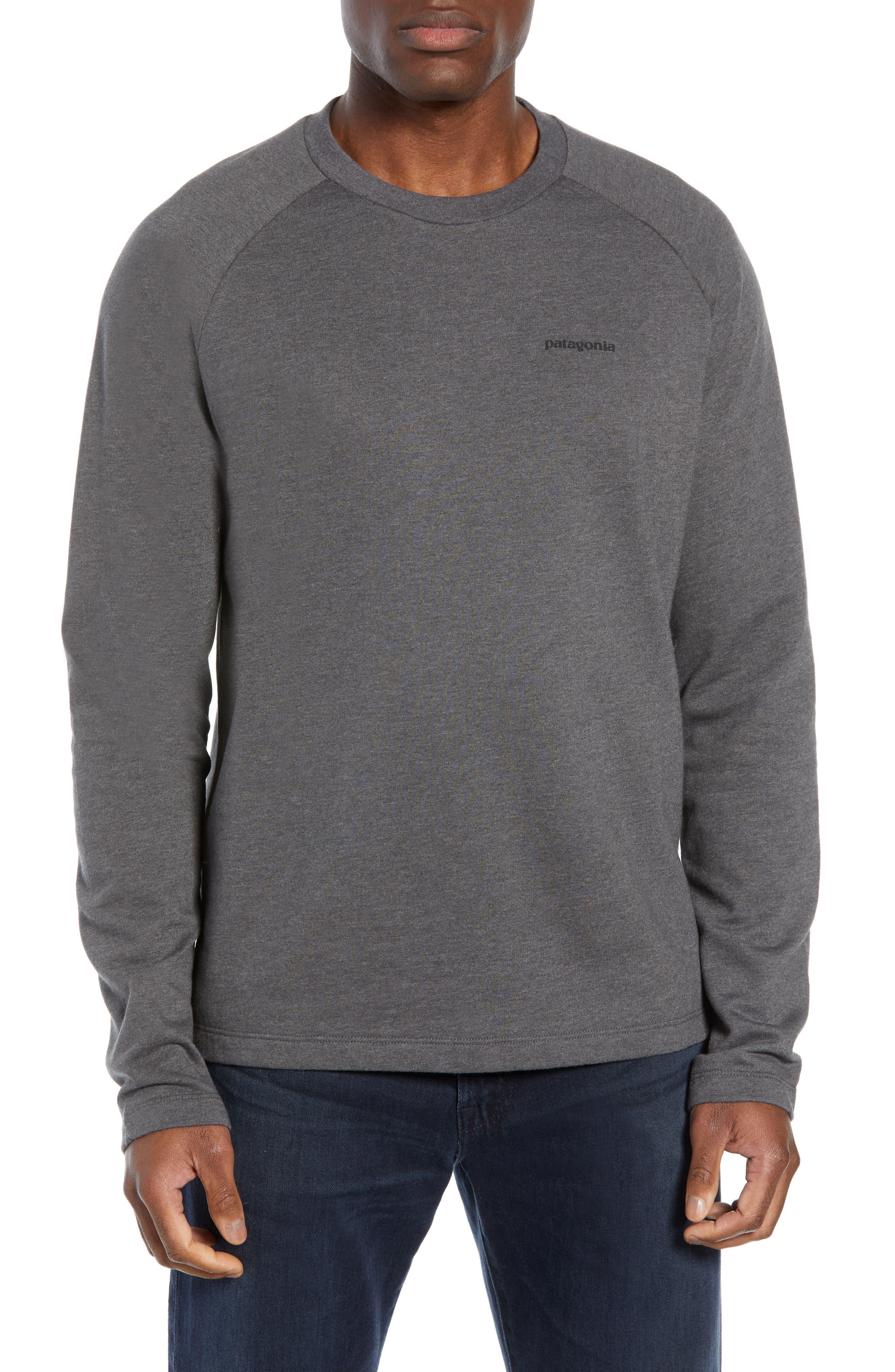 PATAGONIA P-6 Logo Slim Fit Lightweight Sweatshirt, Main, color, FORGE GREY