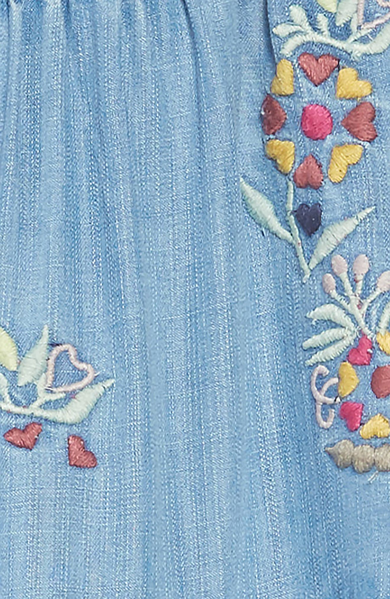 Kimber Embroidered Chambray Dress,                             Alternate thumbnail 3, color,                             CHAMBRAY