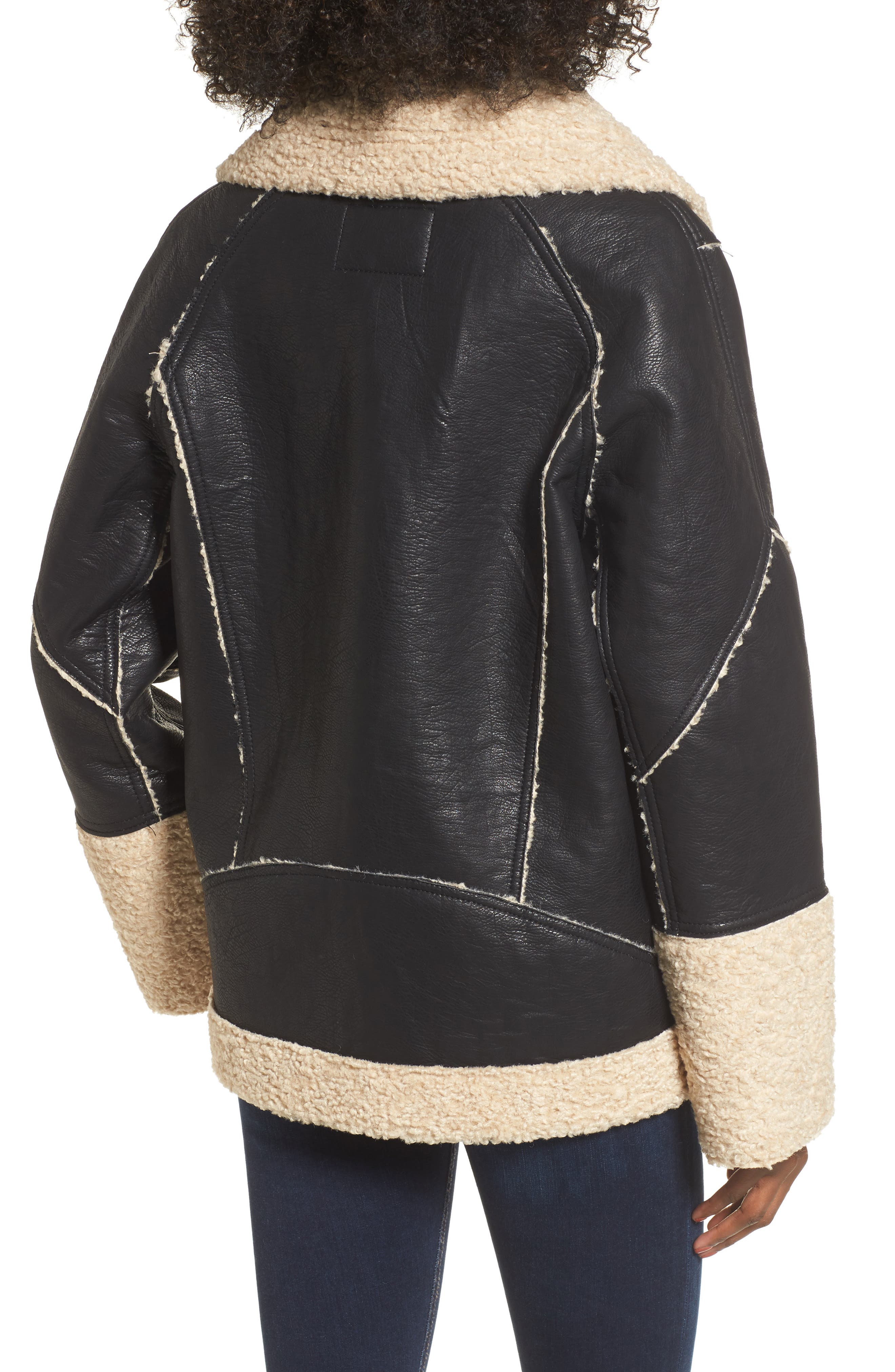 Faux Shearling & Faux Leather Jacket,                             Alternate thumbnail 2, color,