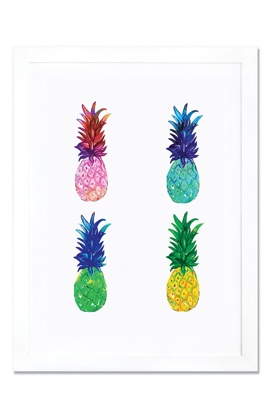 'Pineapple' Giclée Print Framed Canvas Art,                             Main thumbnail 1, color,                             WHITE