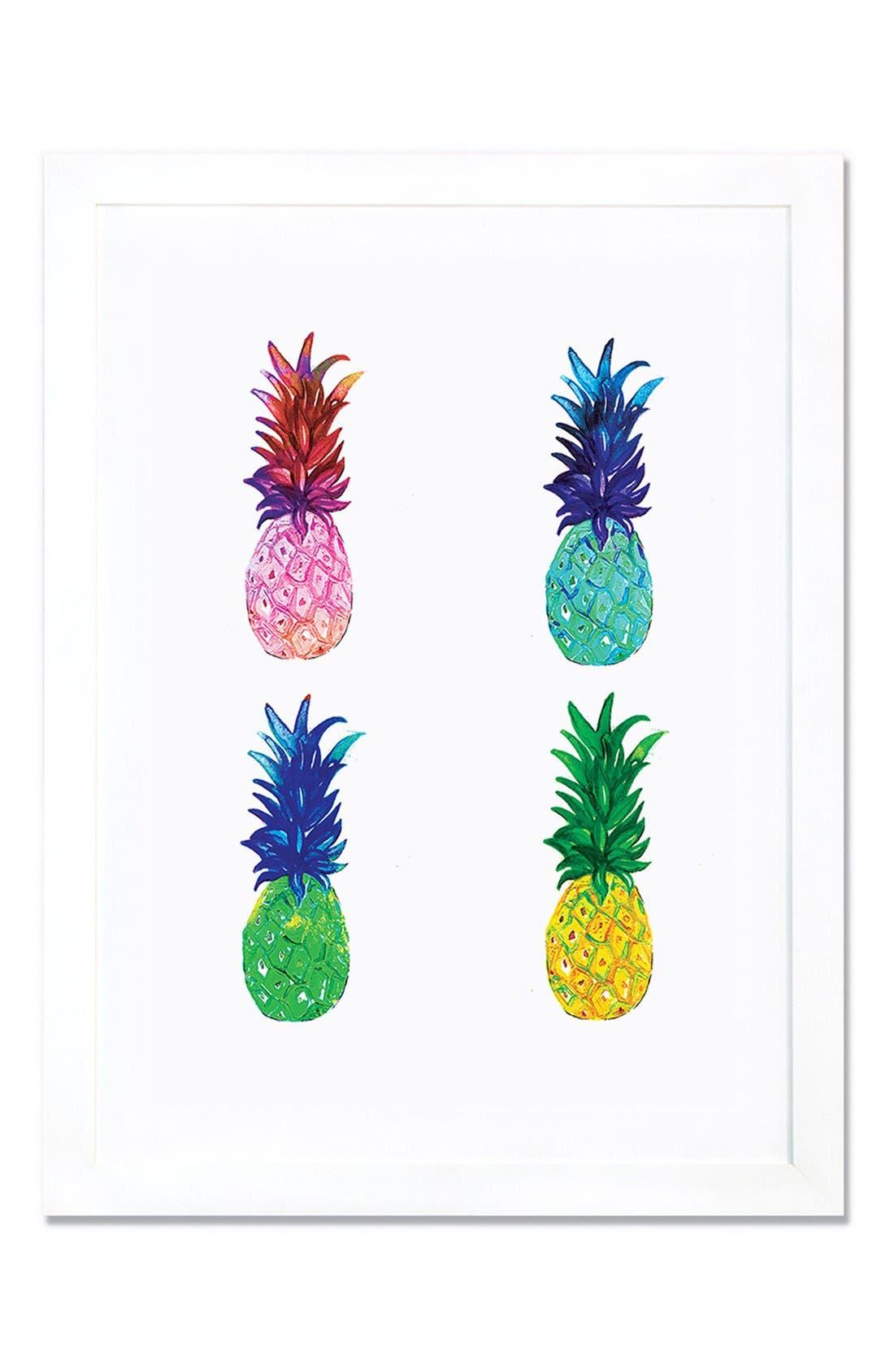 Pineapple Giclée Print Framed Canvas Art,                             Main thumbnail 1, color,                             WHITE