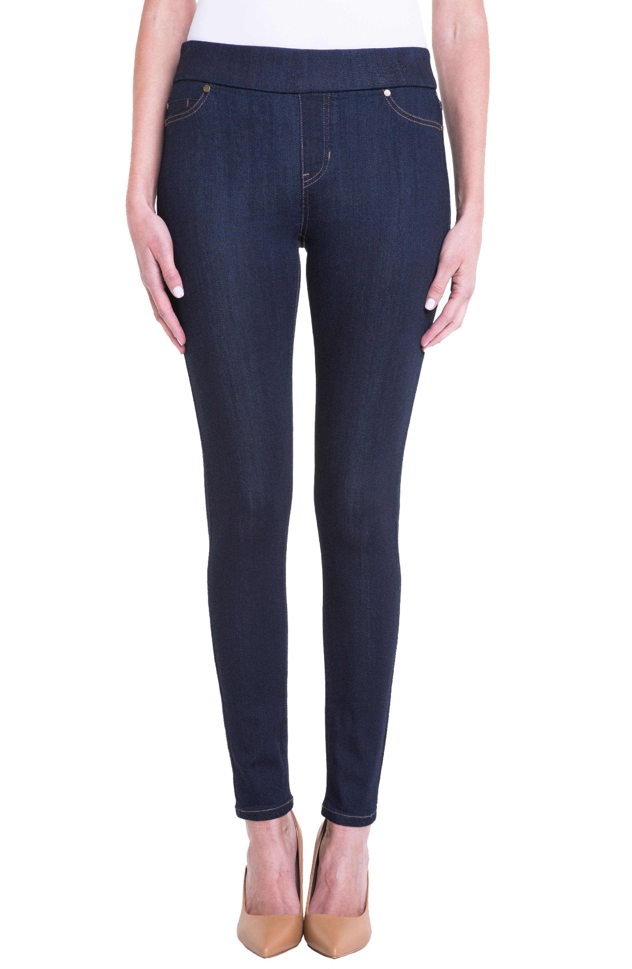 Sienna Pull-On Knit Denim Leggings,                         Main,                         color, INDIGO RINSE