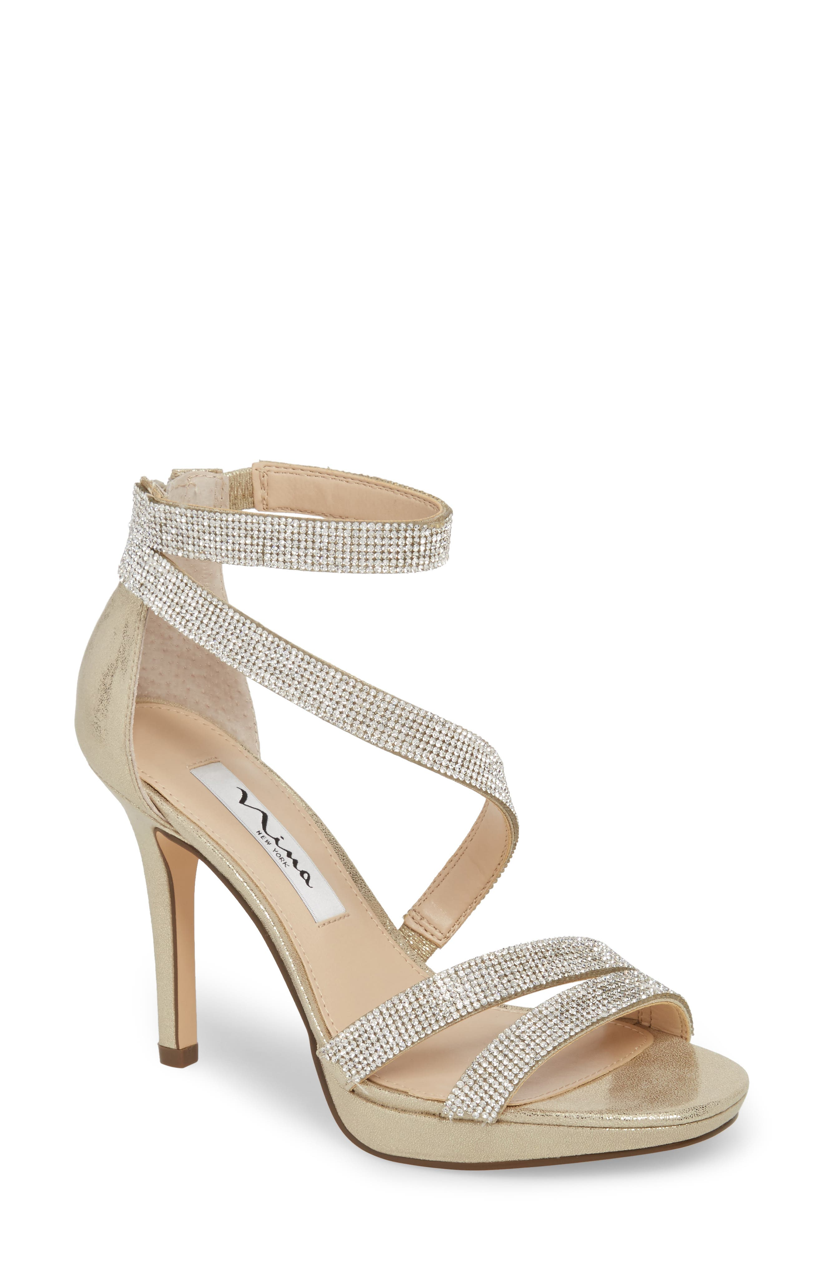 Alissa Sandal,                         Main,                         color, GOLD FABRIC