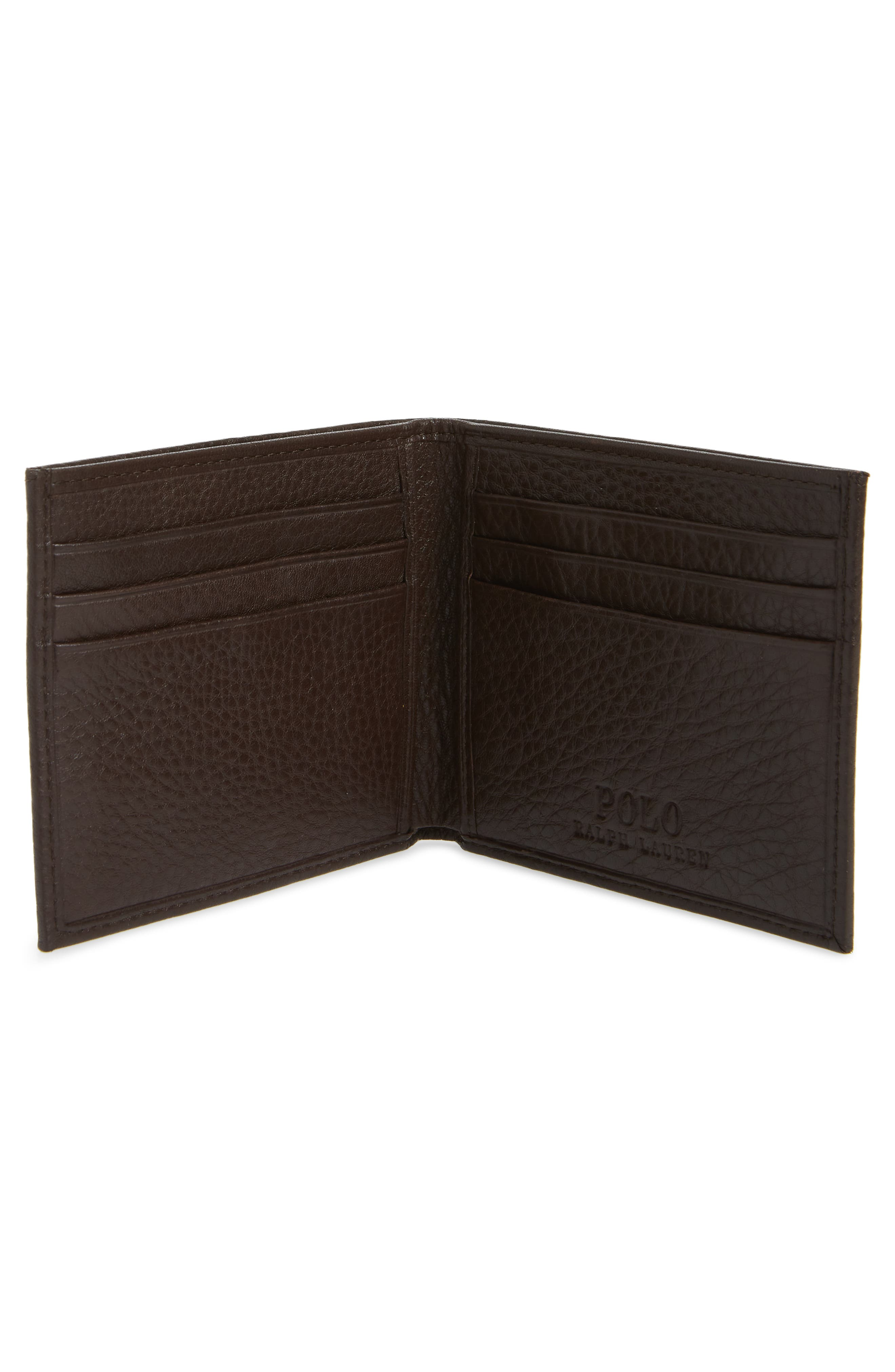 Bifold Leather Wallet,                             Alternate thumbnail 2, color,                             BROWN