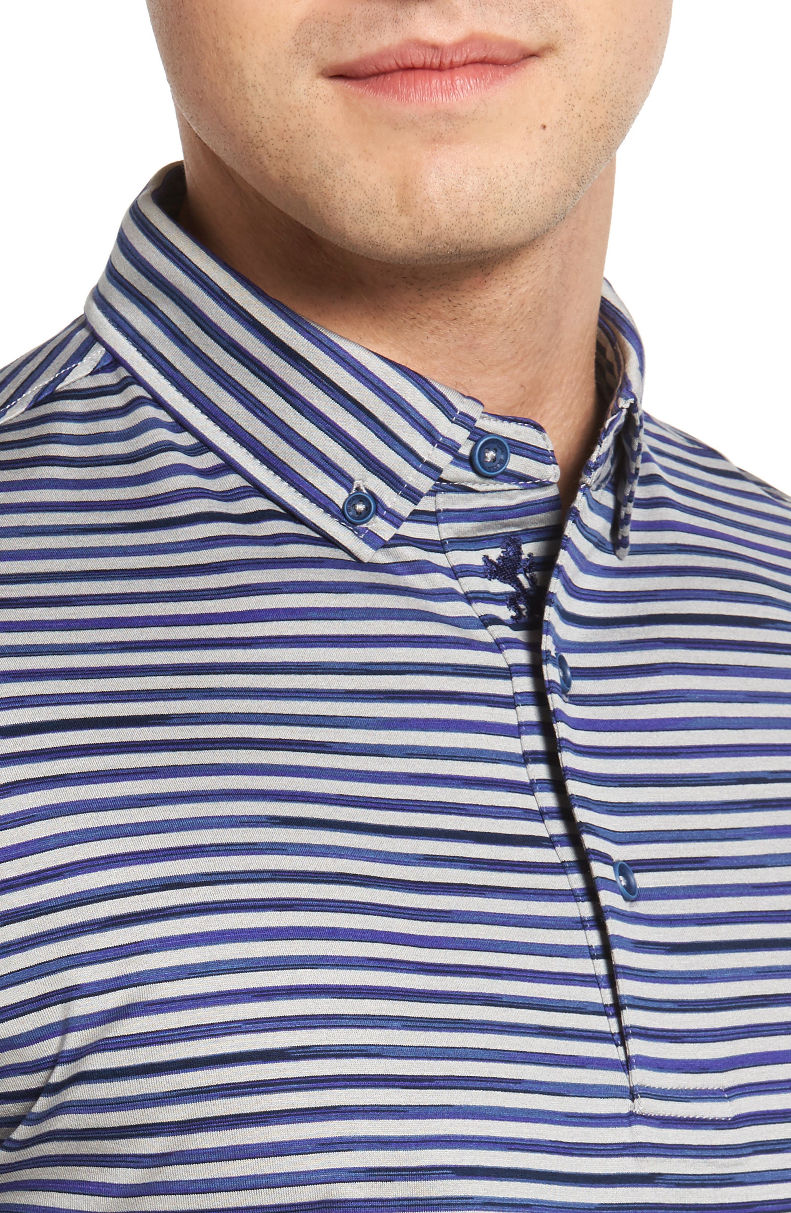 Stripe Jersey Polo,                             Alternate thumbnail 4, color,                             020