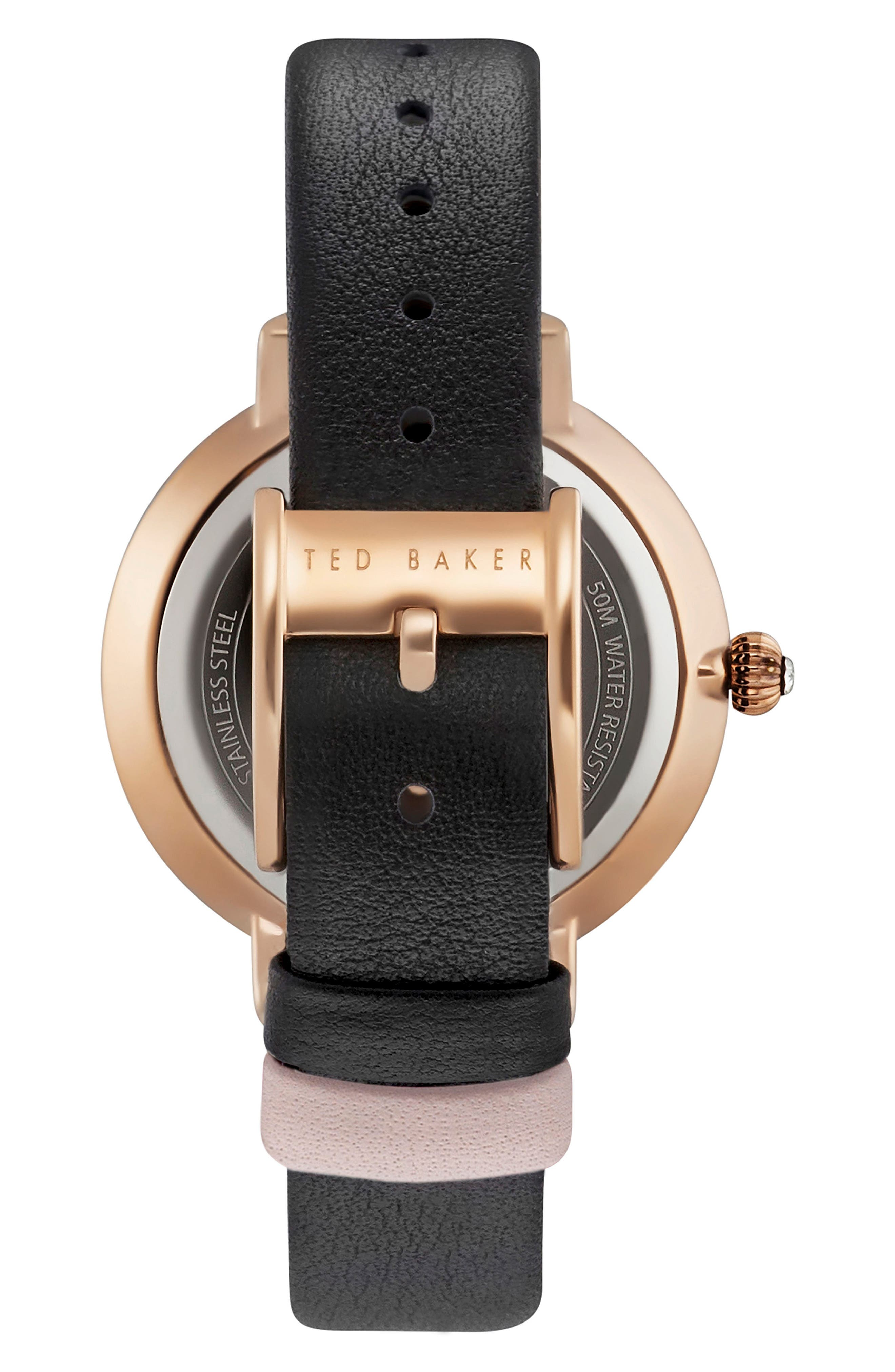Isla Round Leather Strap Watch, 36mm,                             Alternate thumbnail 2, color,                             001