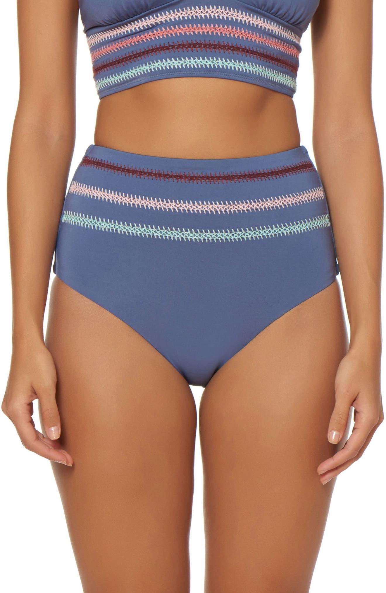 Embroidered High Waist Bikini Bottoms,                         Main,                         color,