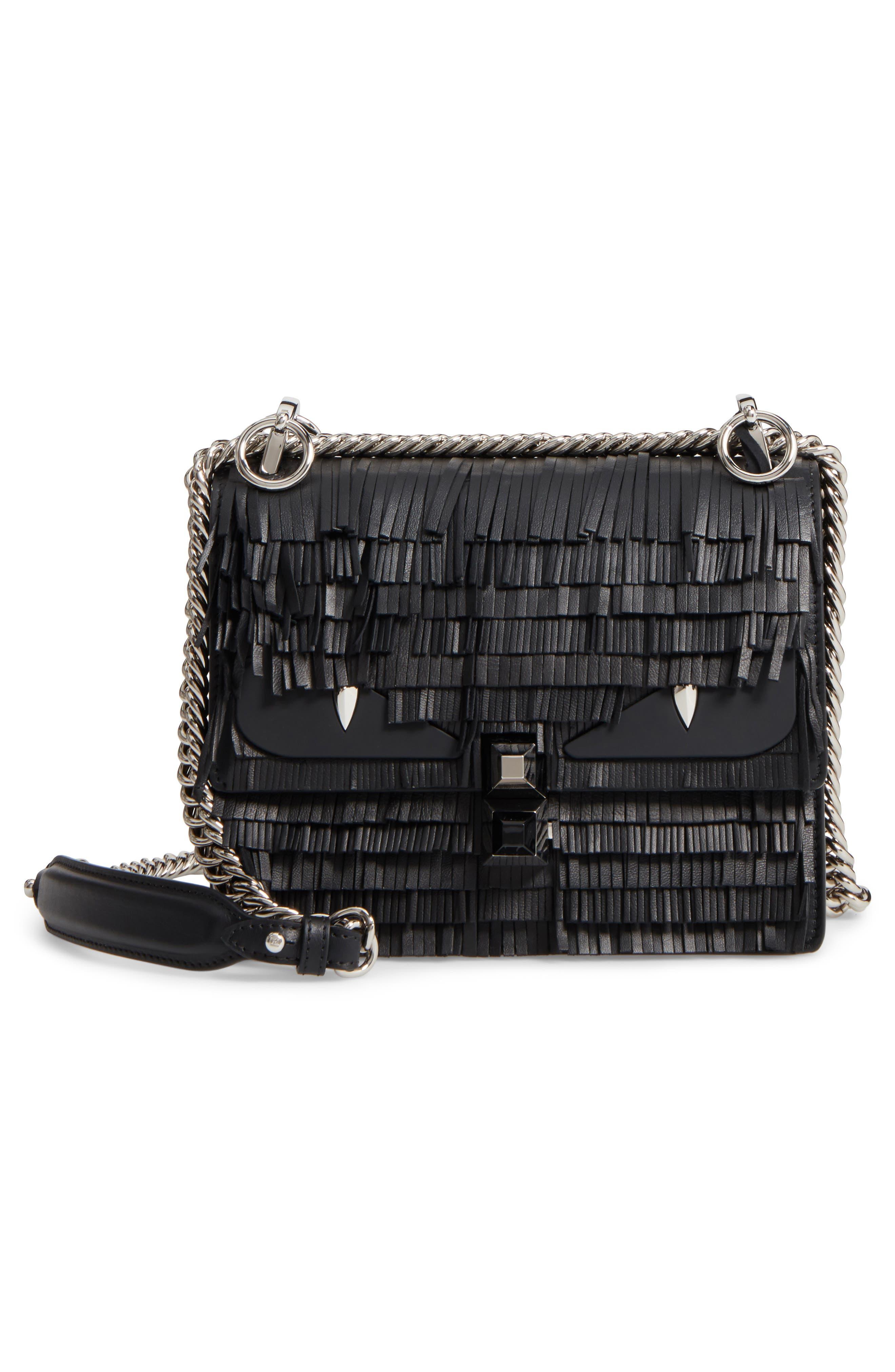 Small Kan I Fringe Monster Calfskin Shoulder Bag,                         Main,                         color, BLACK PALLADIUM