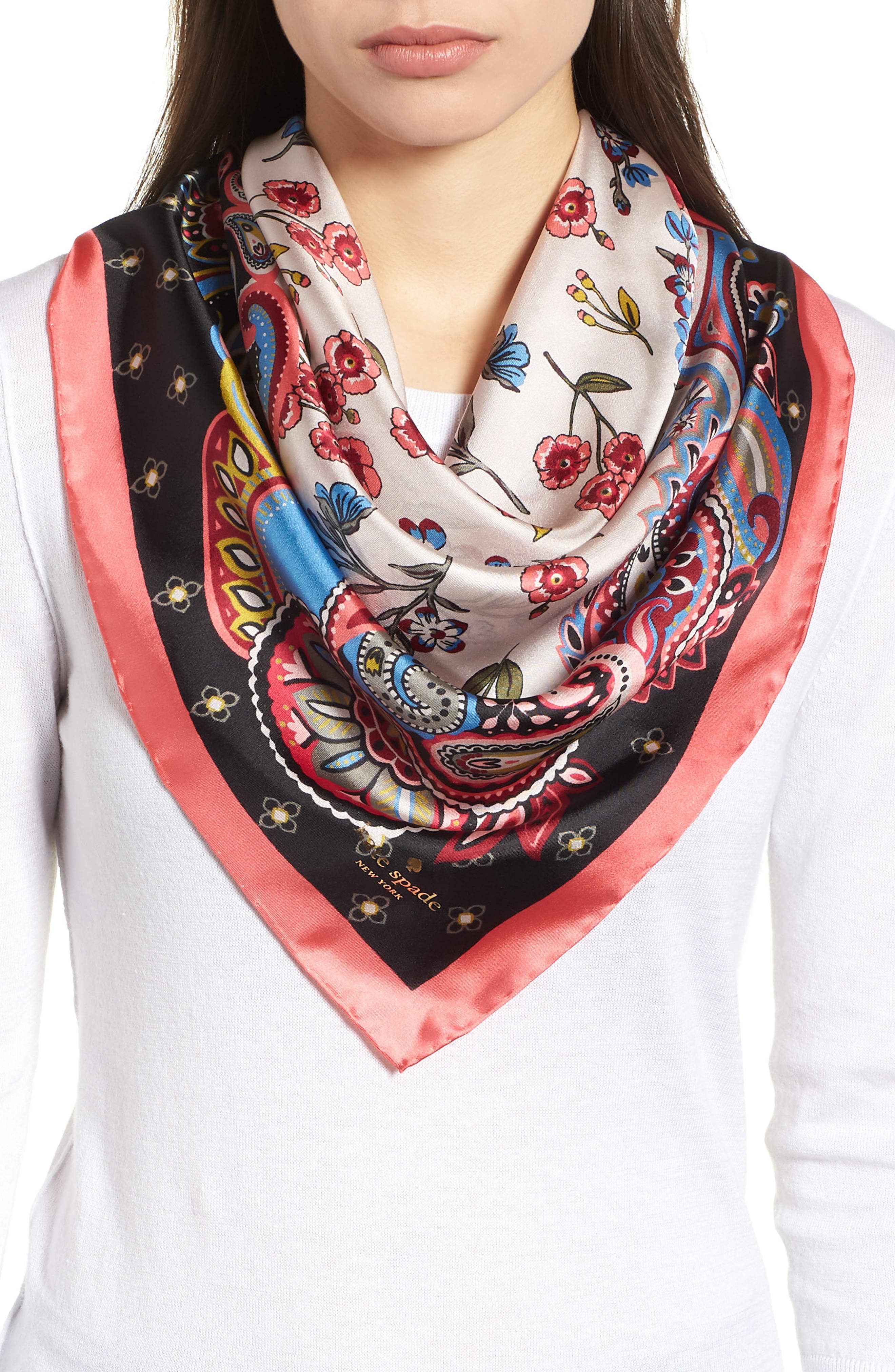 framed meadow silk square scarf,                             Main thumbnail 1, color,                             BLACK