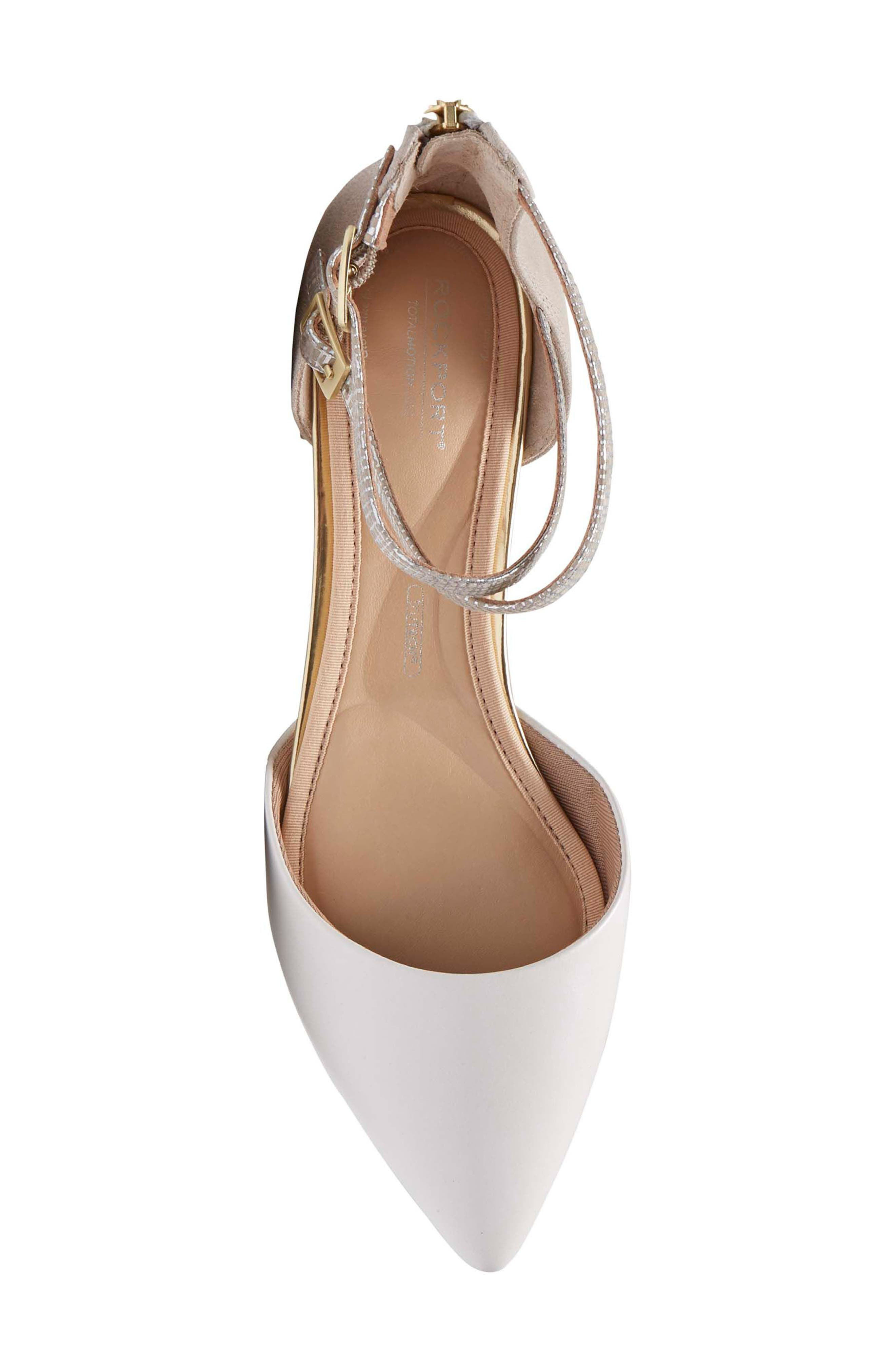 Total Motion<sup>®</sup> Zuly Luxe Ankle Strap Flat,                             Alternate thumbnail 5, color,                             WHITE LEATHER