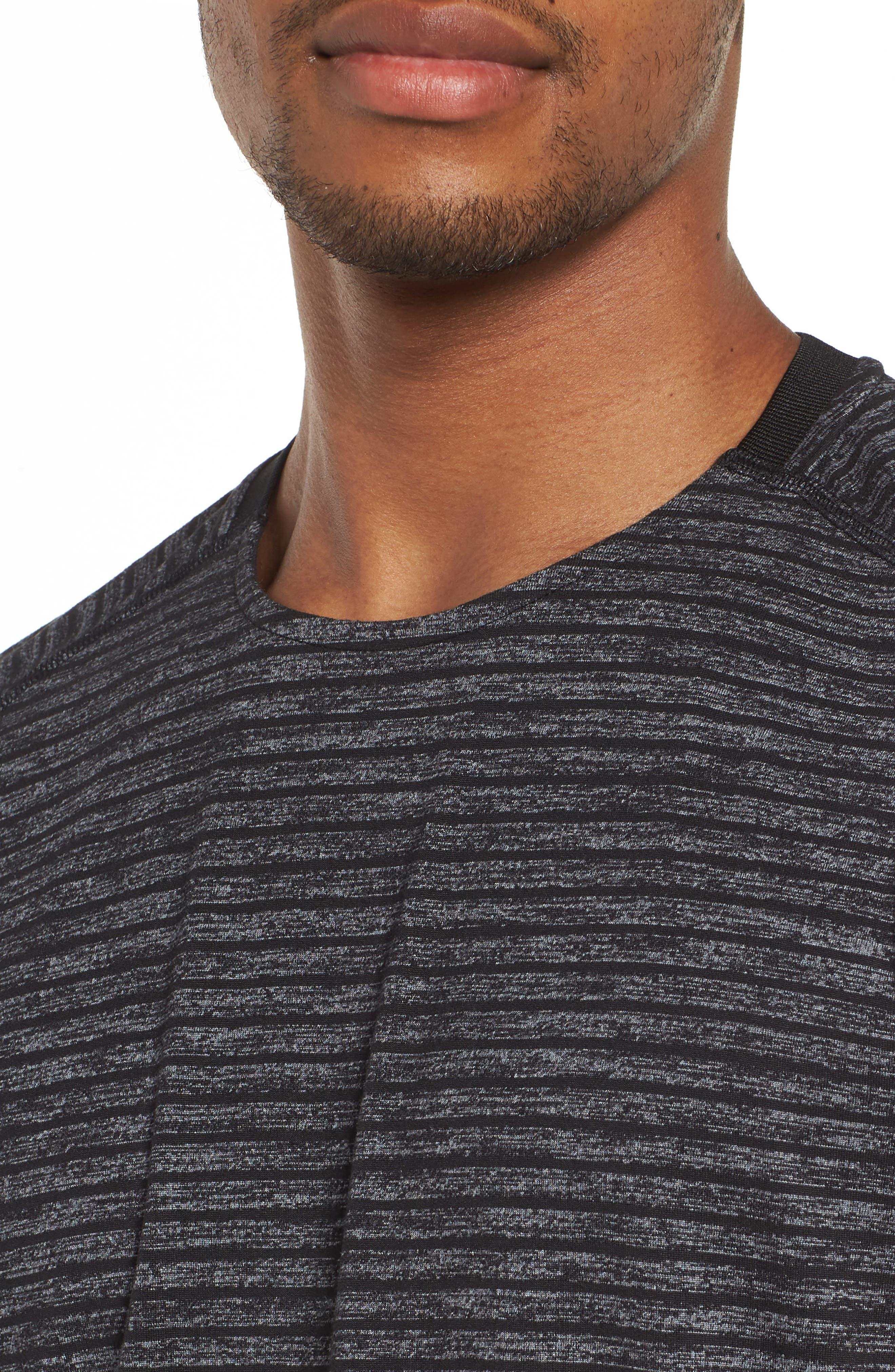 Stripe Crewneck T-Shirt,                             Alternate thumbnail 4, color,                             030